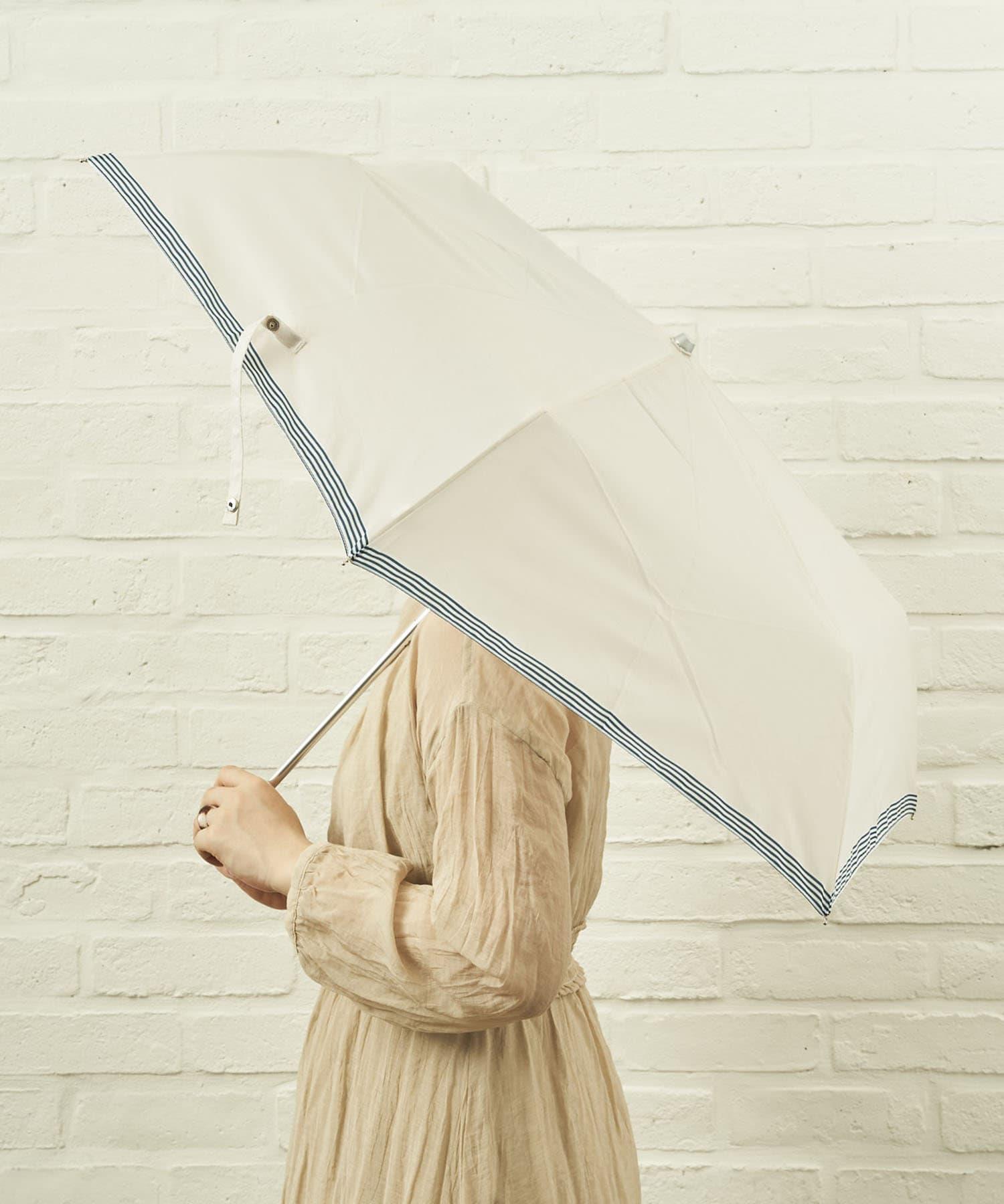 salut!(サリュ) ライフスタイル 雨傘折裾ボーダー(アイボリー) その他