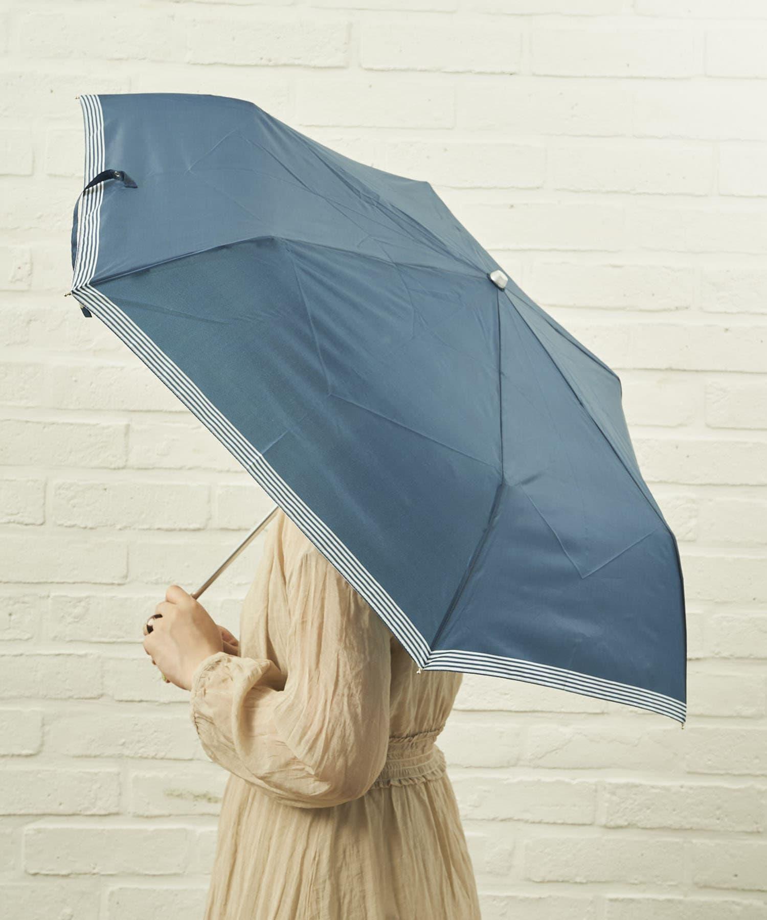 salut!(サリュ) ライフスタイル 雨傘折裾ボーダー(ネイビー) その他