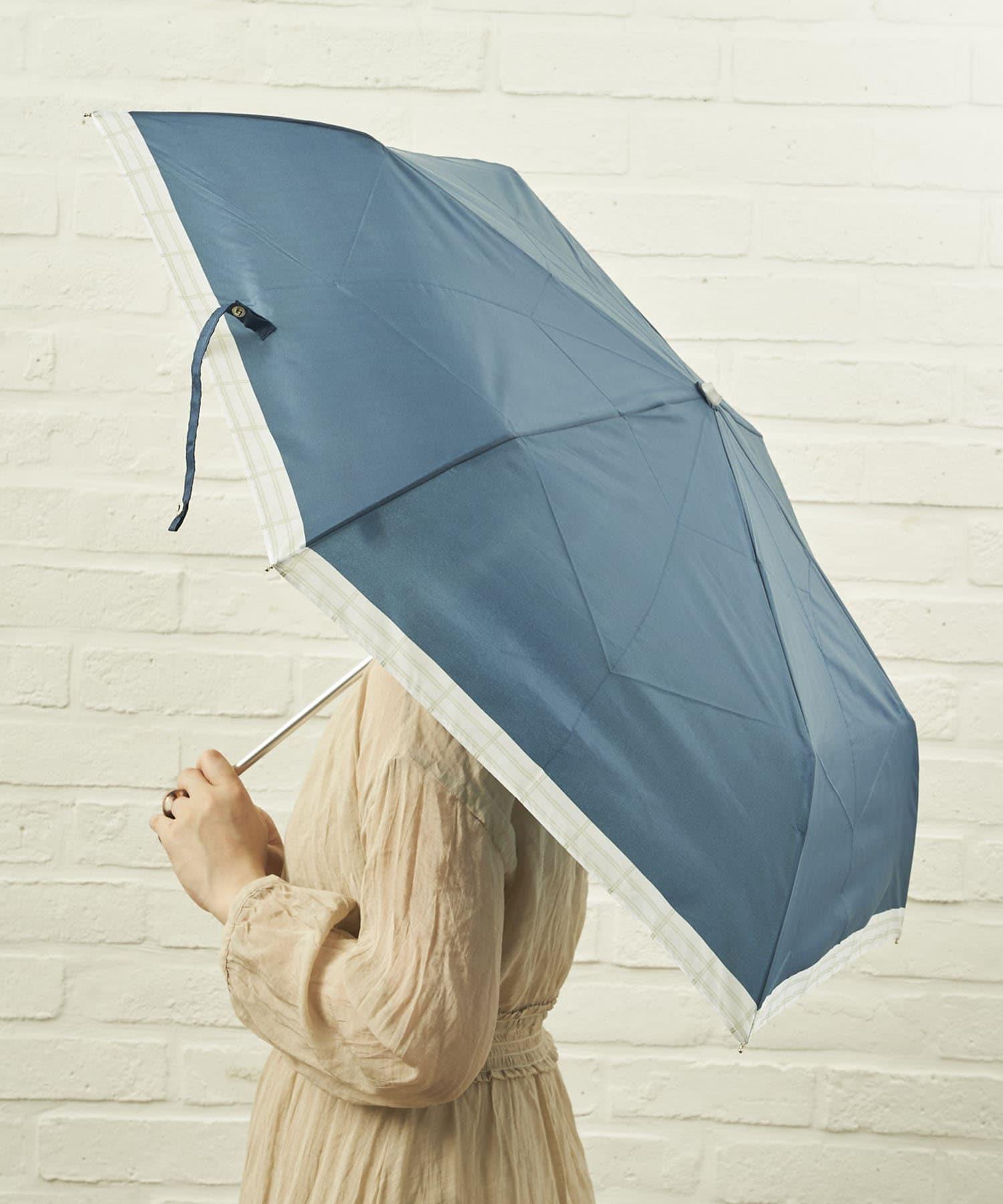 salut!(サリュ) ライフスタイル 雨傘折裾チェック(ネイビー) その他
