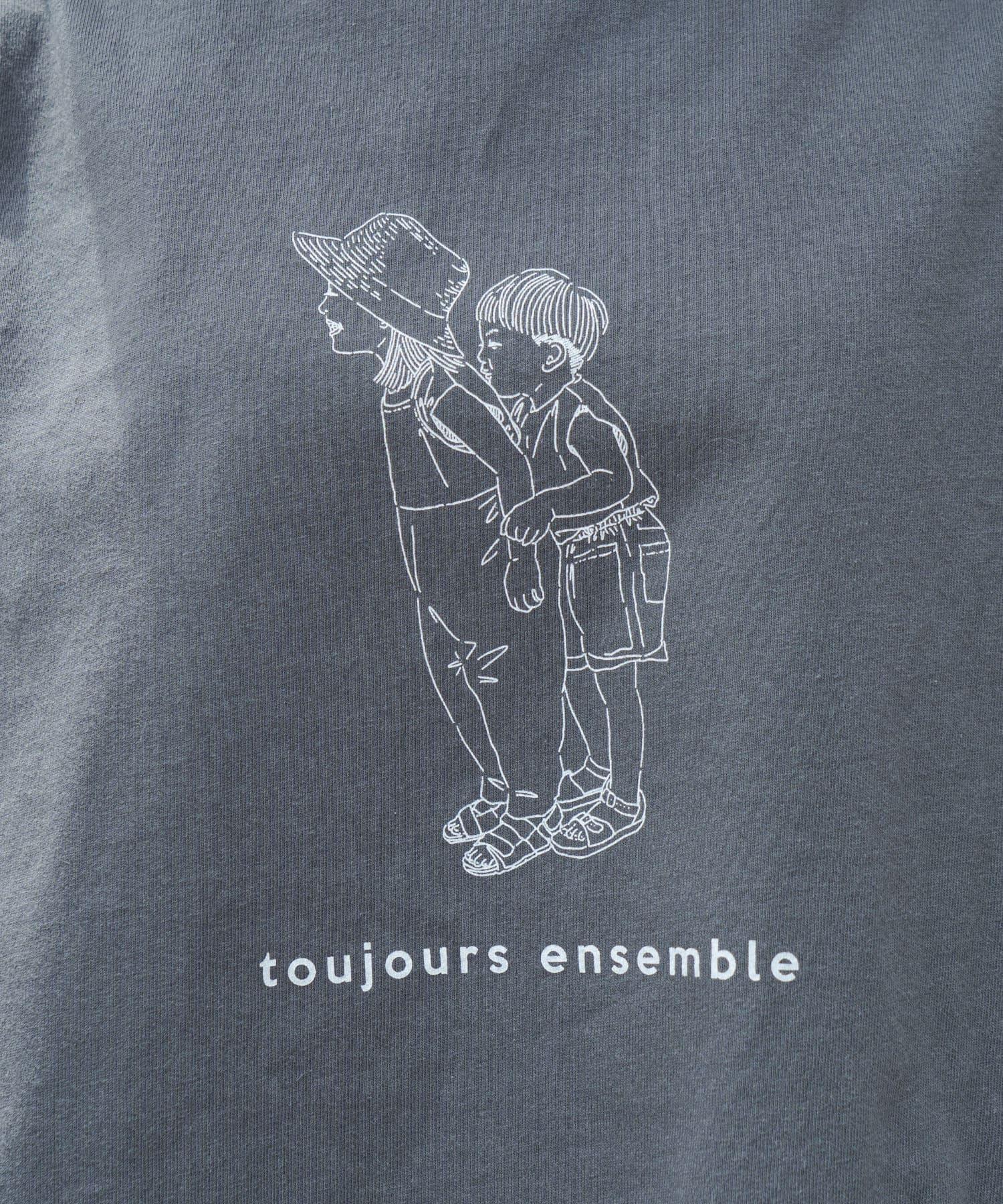 pual ce cin(ピュアルセシン) 配色ステッチ×プリントTシャツ