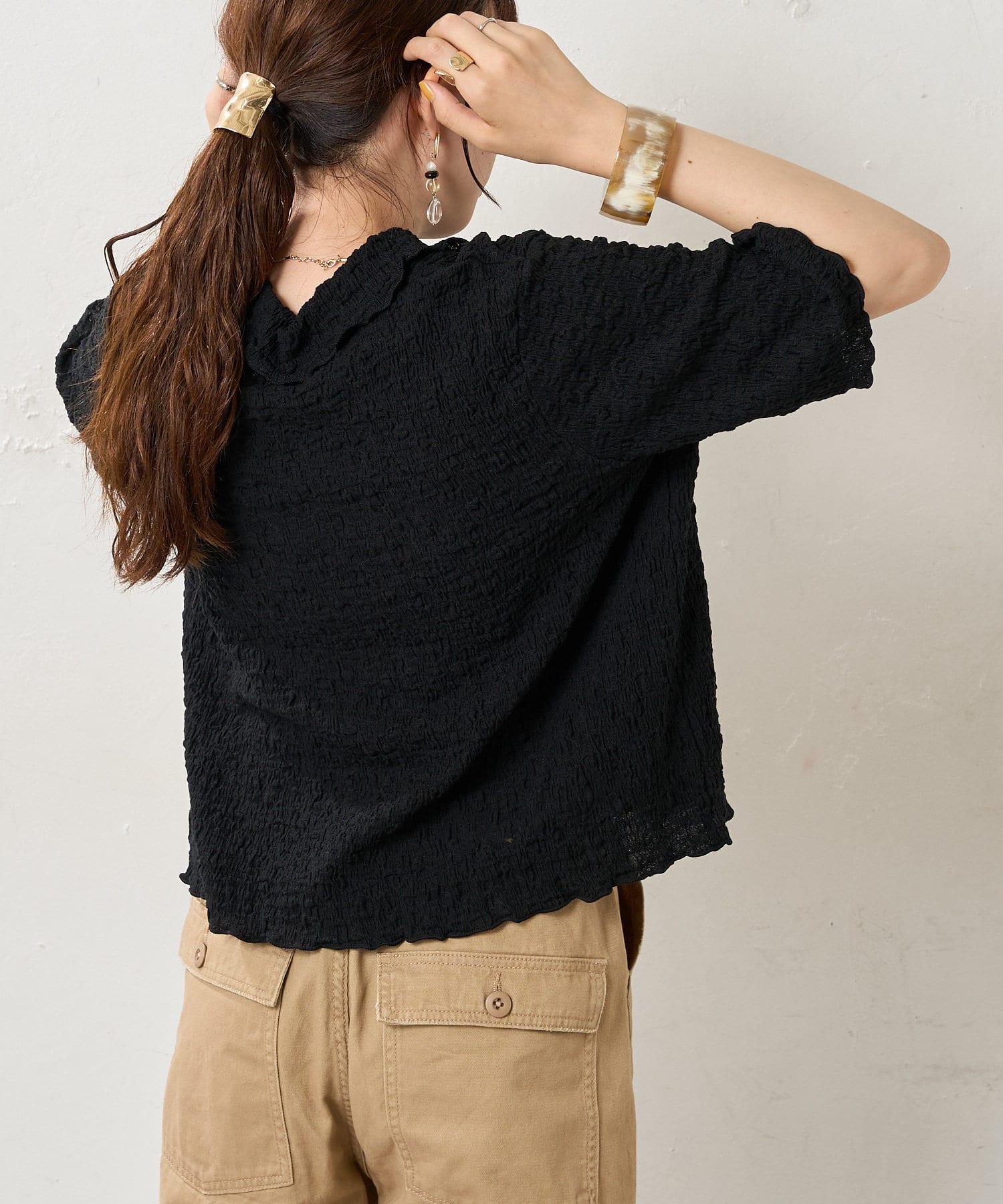 Discoat(ディスコート) 【WEB限定】ぽこぽこシャーリング開襟シャツ