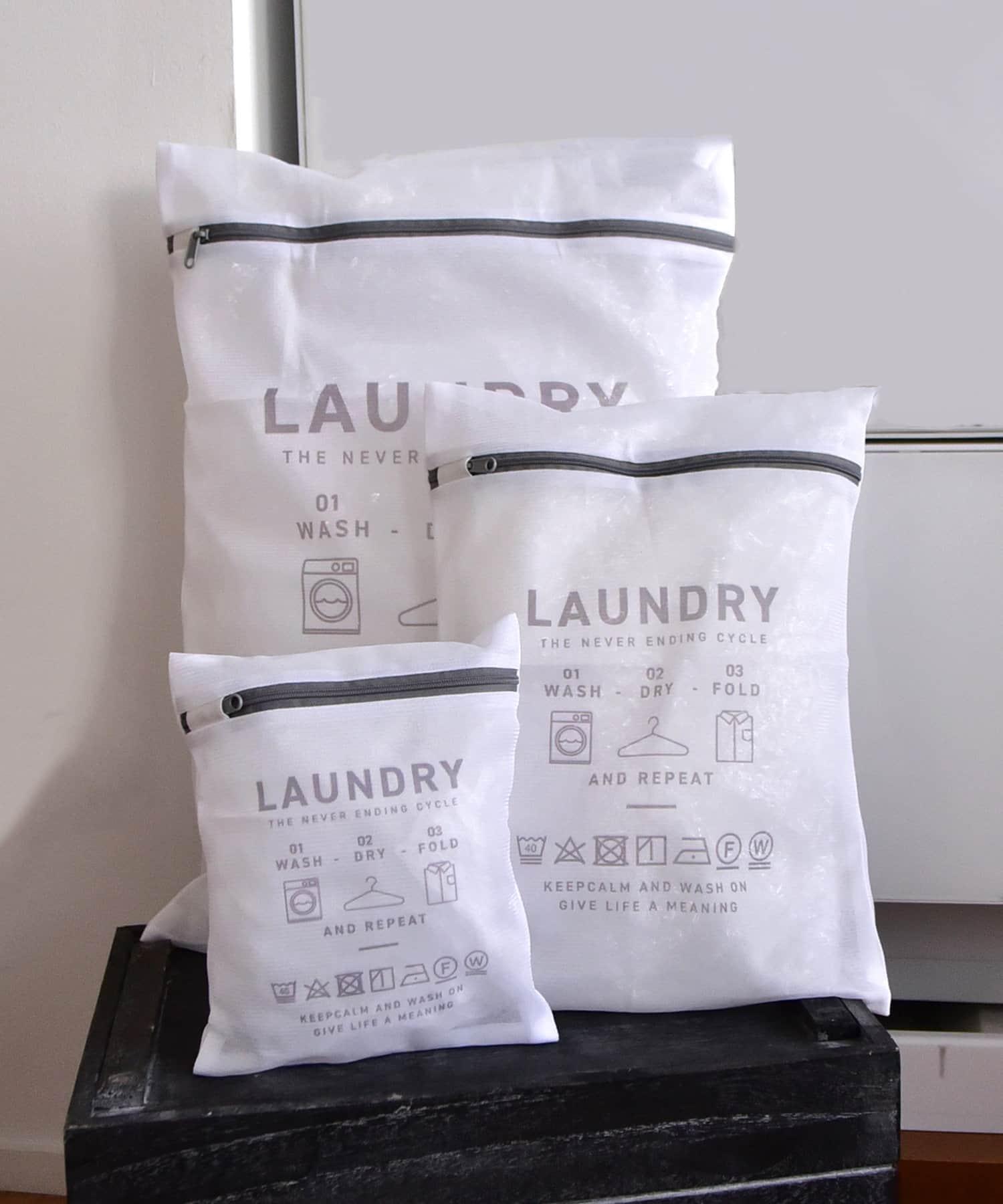 3COINS(スリーコインズ) ライフスタイル 【お洗濯をより快適に】ランドリーネットスクエア3枚セット グレー