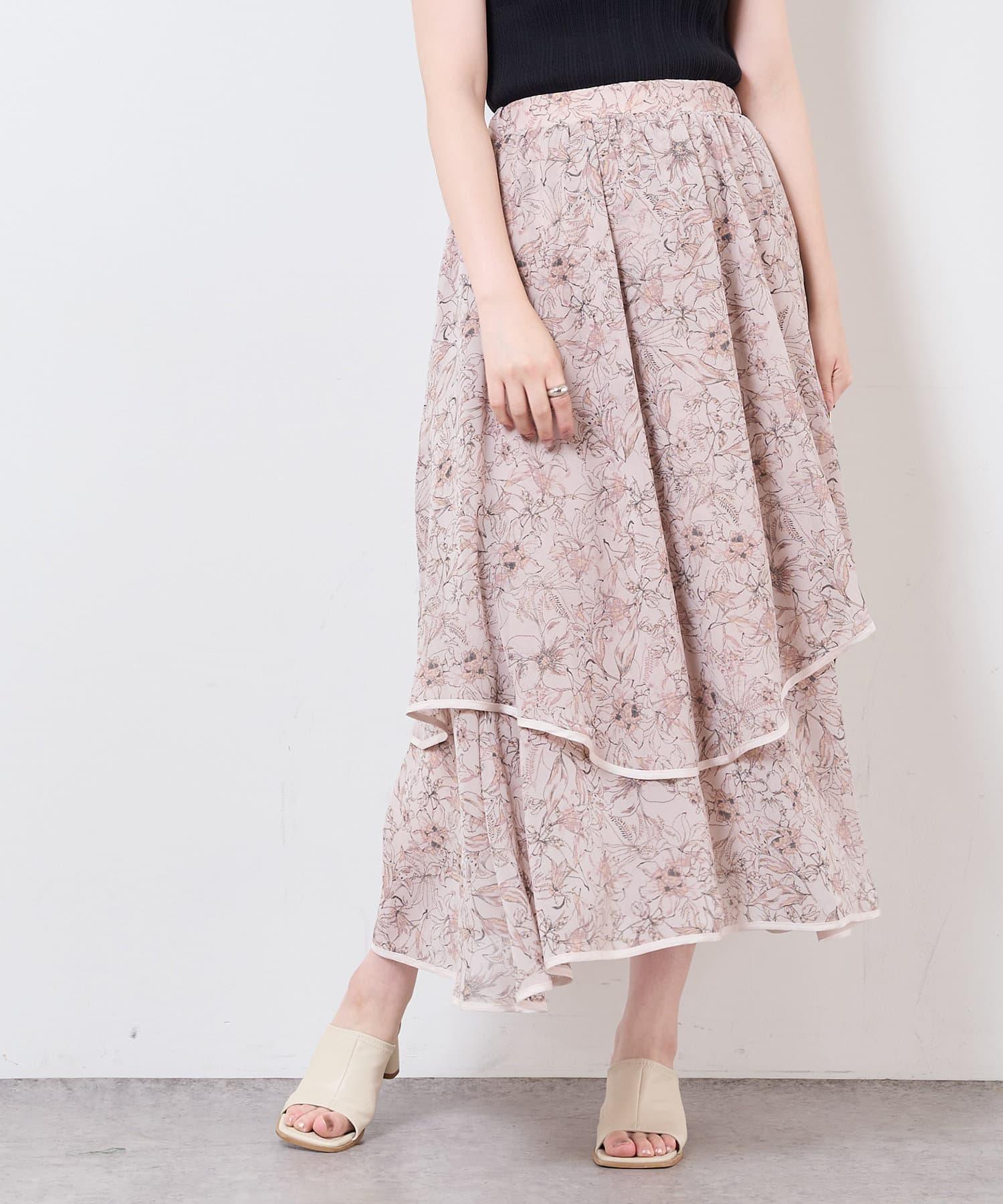 natural couture(ナチュラルクチュール) 【WEB限定】花柄ランダムヘムパイピングスカート