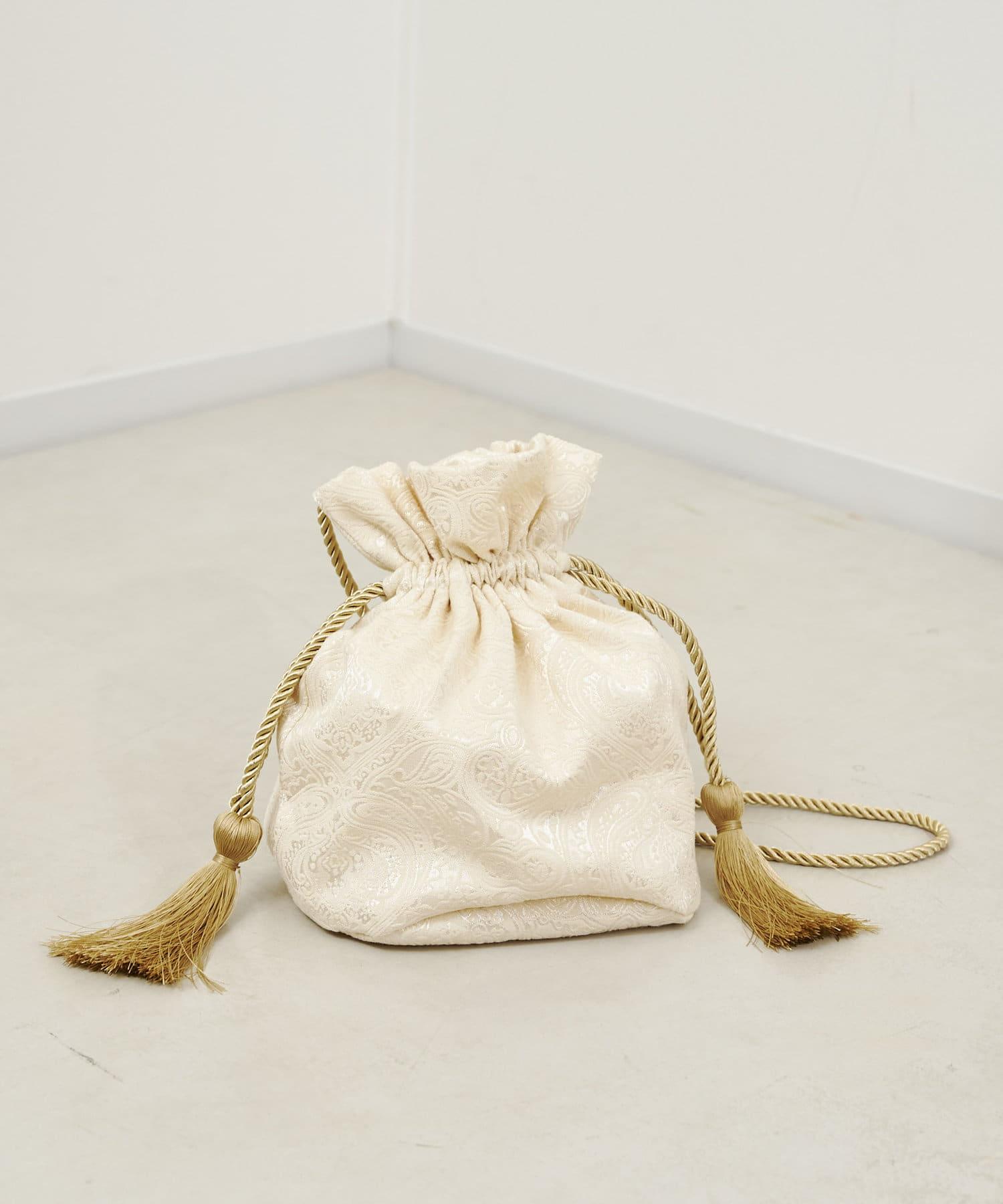 CPCM(シーピーシーエム) タッセル付きジャカード巾着バッグ
