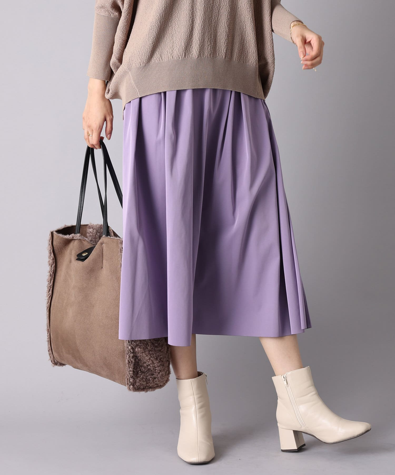 un dix cors(アンディコール) 【その日の気分で着まわせる】リバーシブルタフタギャザースカート