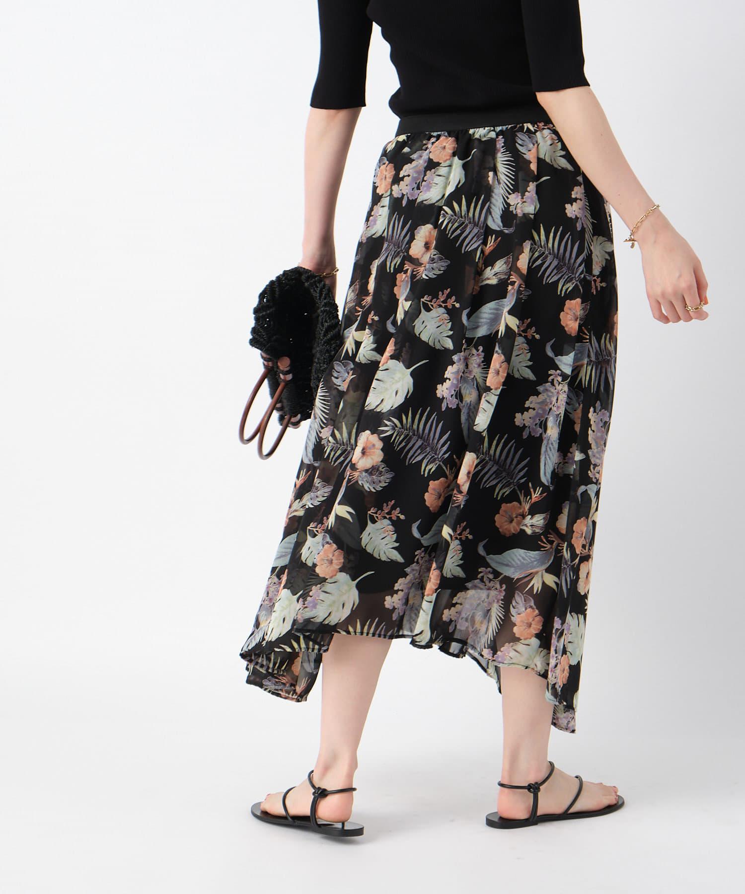 RIVE DROITE(リヴドロワ) 【スタイリングの主役になってくれる】アイランドフラワーギャザースカート