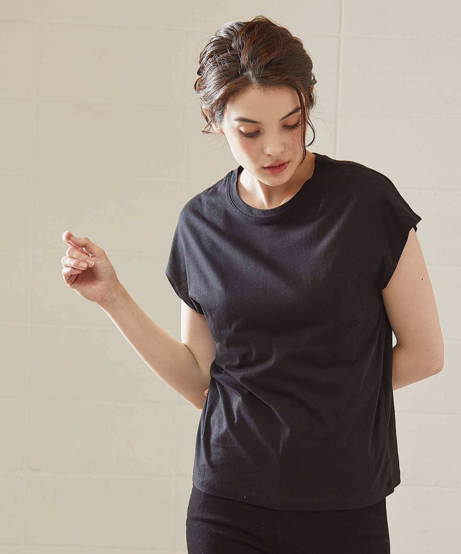 OUVRAGE CLASSE(ウヴラージュクラス) レディース オーガニックコットンフレンチTシャツ ブラック