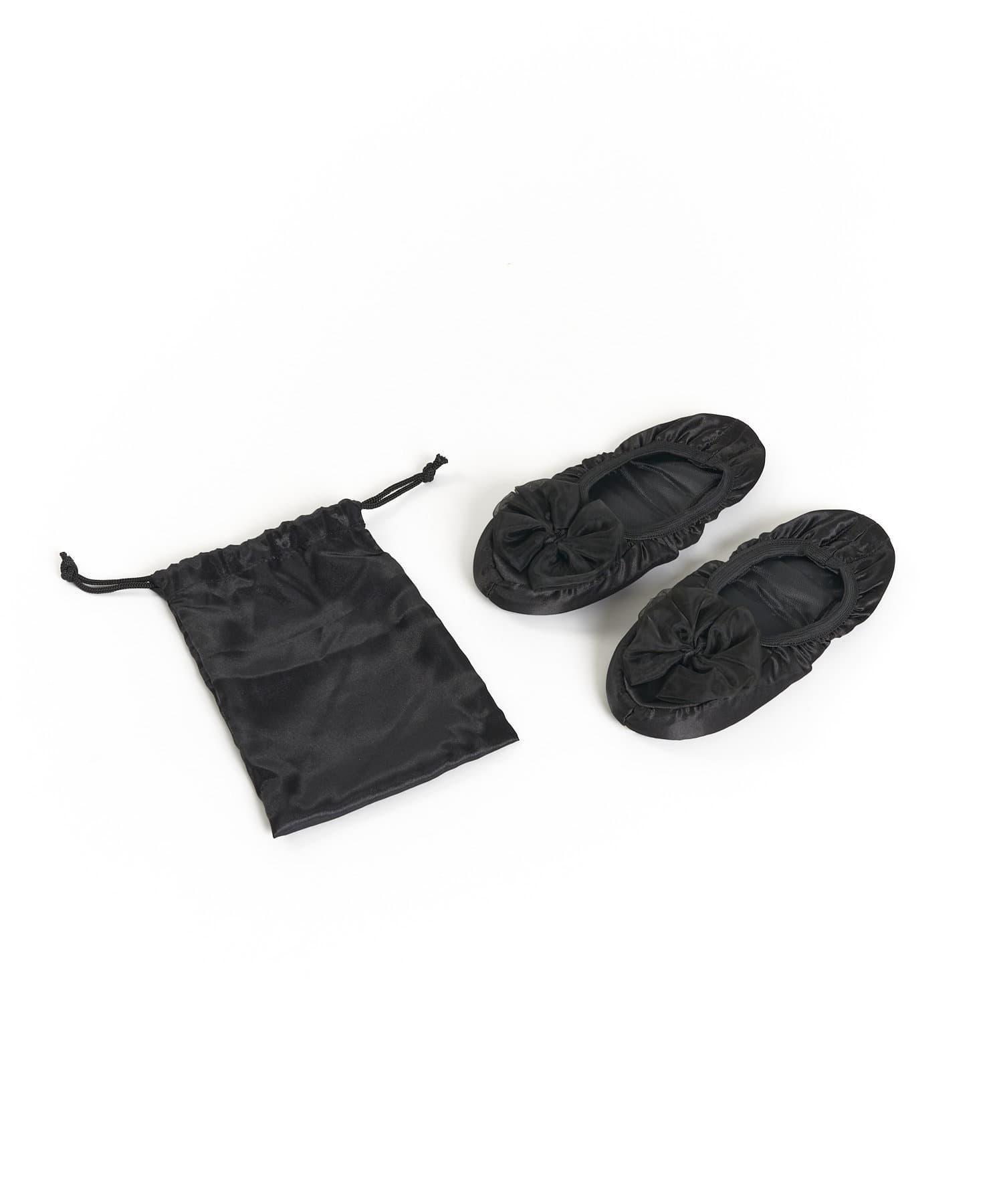 3COINS(スリーコインズ) ライフスタイル シフォンリボン付きスリッパ ブラック