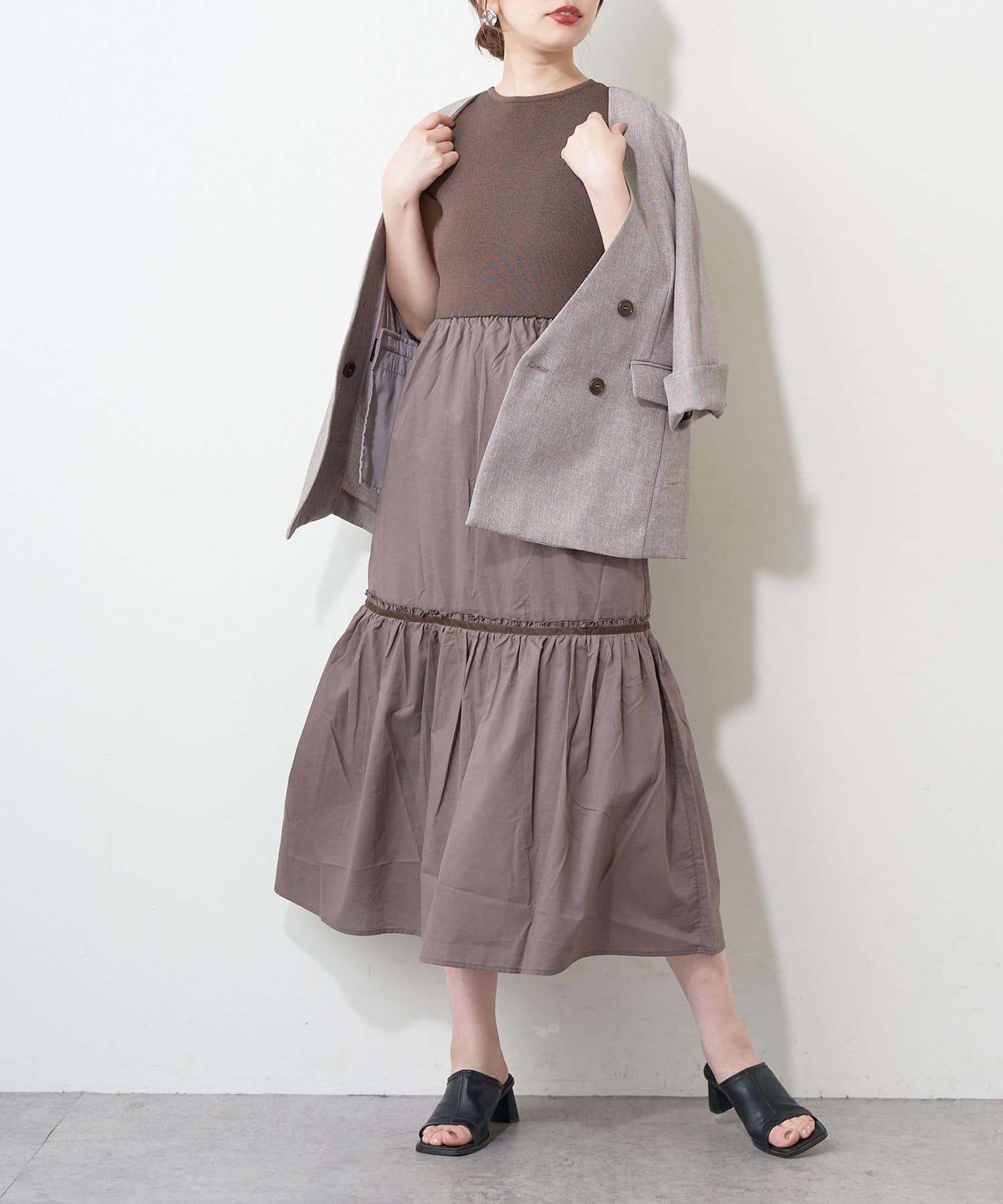 natural couture(ナチュラルクチュール) 【WEB限定】バックリボンドッキングティアードワンピース