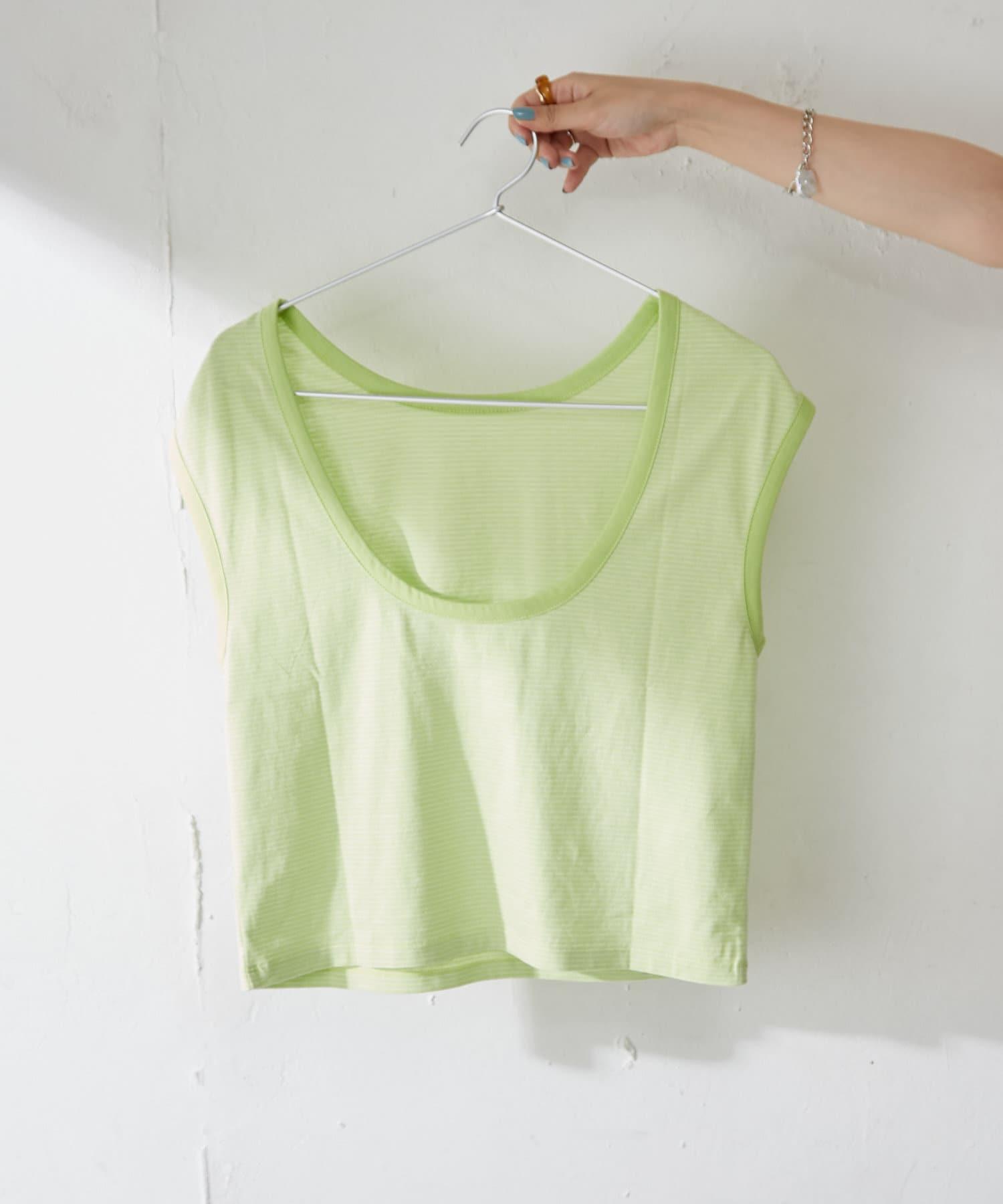 Discoat(ディスコート) バックオープンリンガーボーダーTシャツ