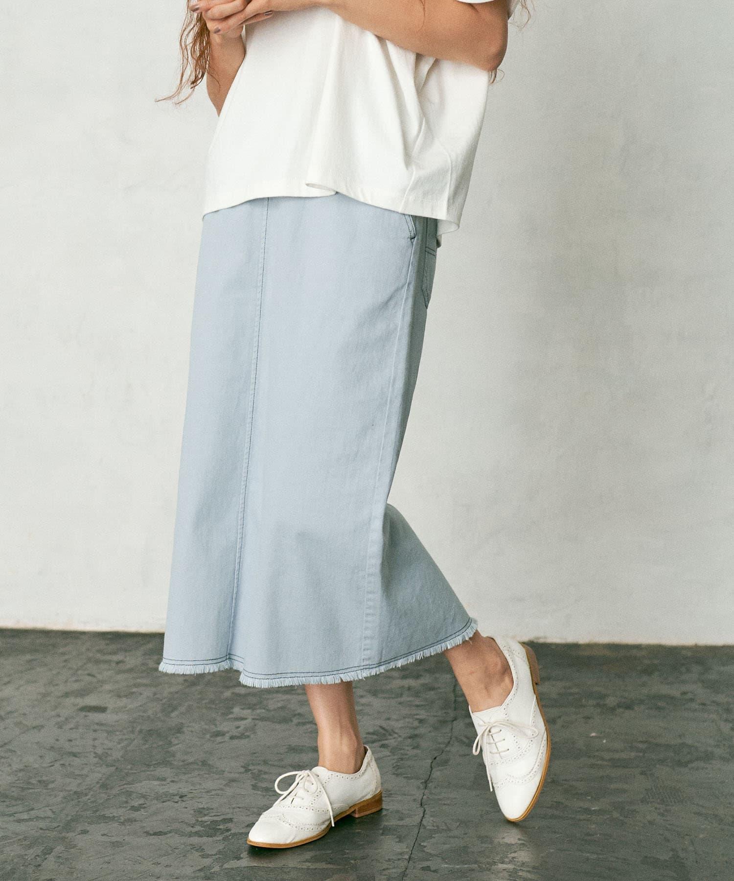 pual ce cin(ピュアルセシン) 【WEB限定】甘織ツイル×配色ステッチスカート
