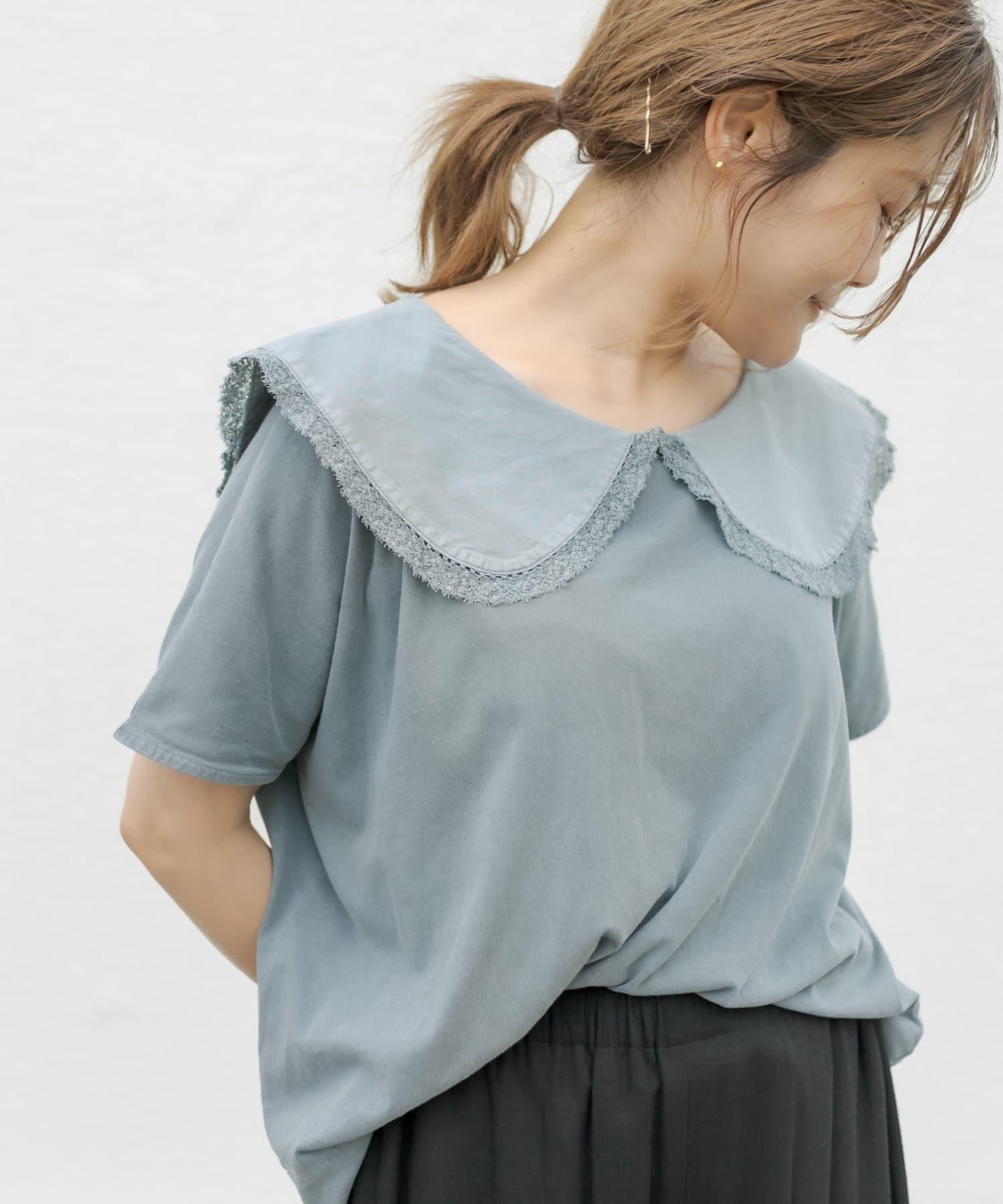 pual ce cin(ピュアルセシン) 【WEB限定】ピグメント染め×衿レースTシャツ