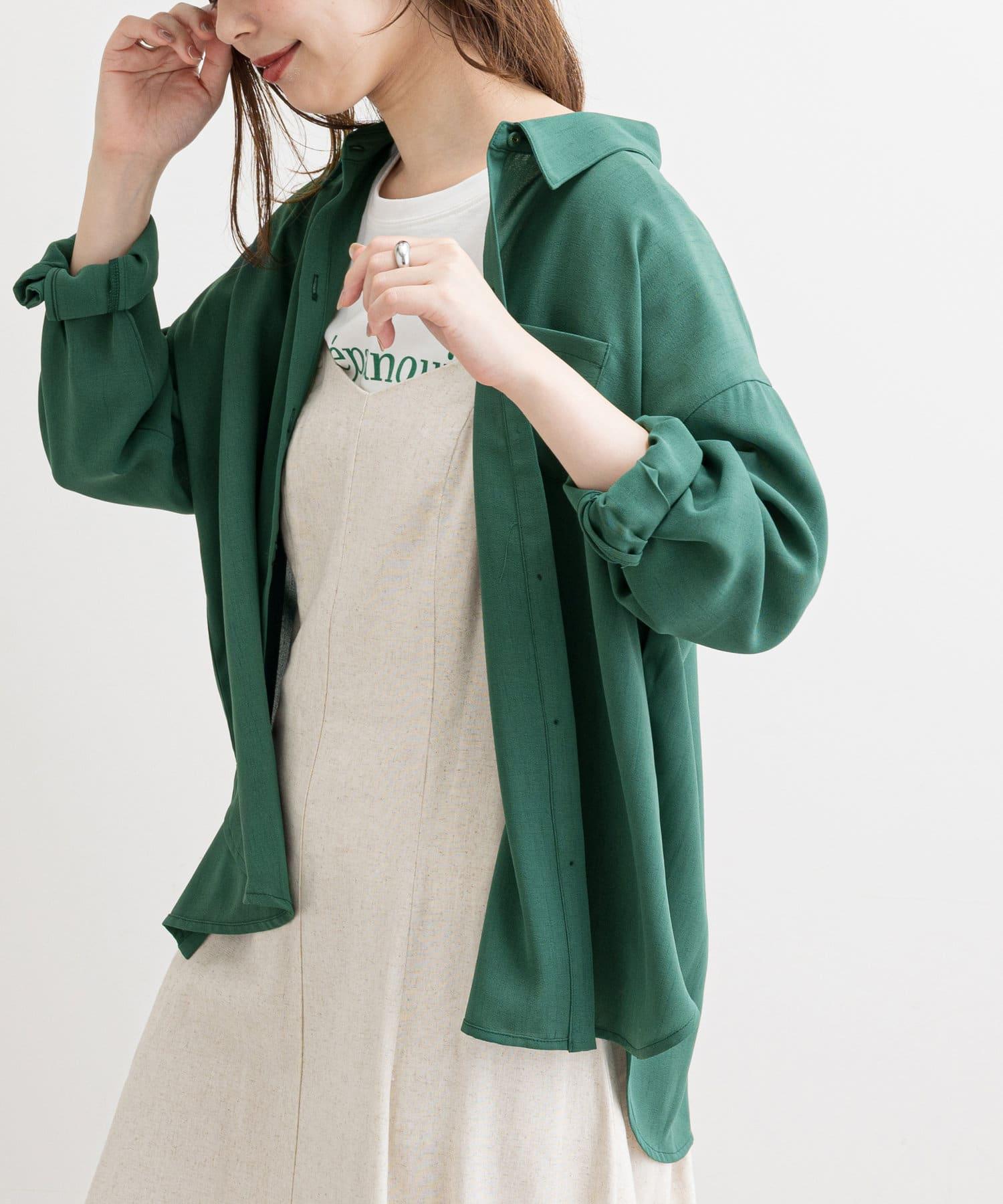 natural couture(ナチュラルクチュール) 【WEB限定】サイドスリットシンプルゆるシャツ