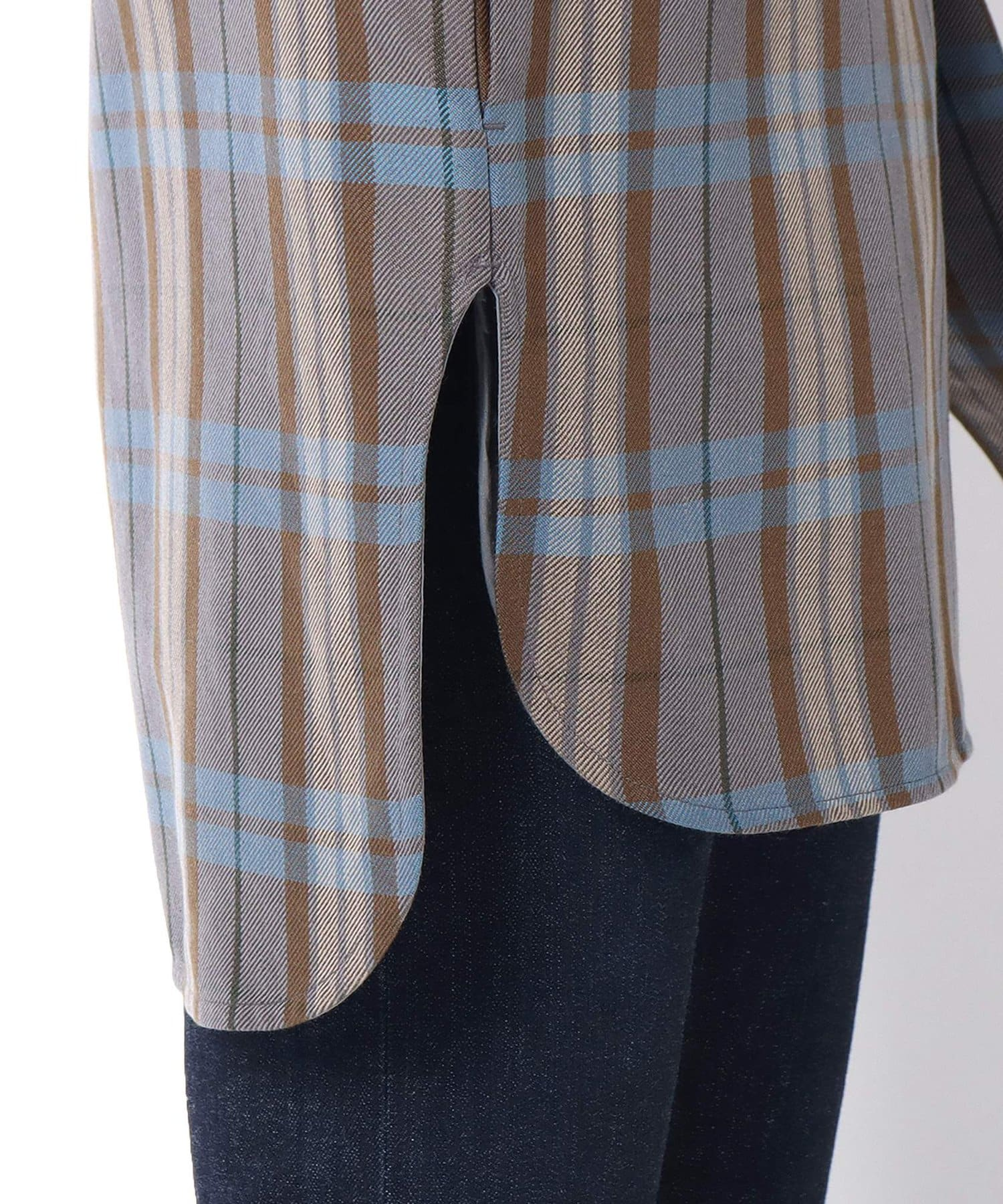 Lui's(ルイス) ミドルチェックスリットテールシャツ