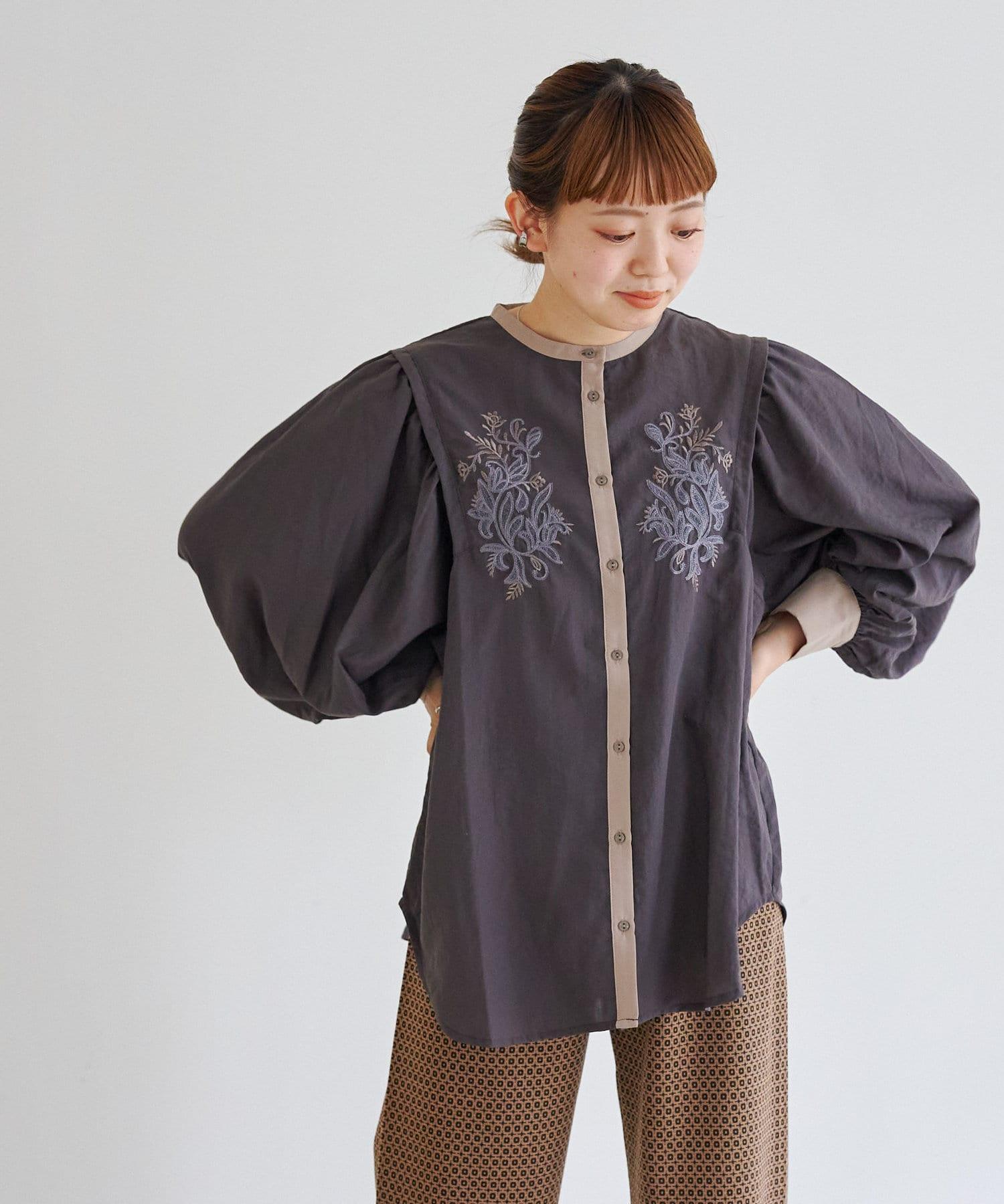 CPCM(シーピーシーエム) 袖ボリューム肩切替刺繍チュニック