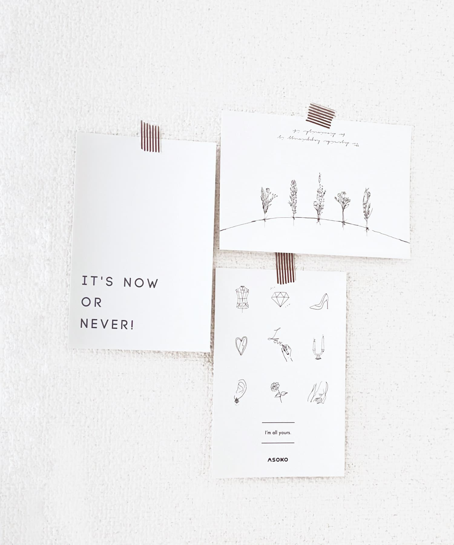 ASOKO(アソコ) ライフスタイル 【fem fem fem】ポストカード3枚セット ブラック