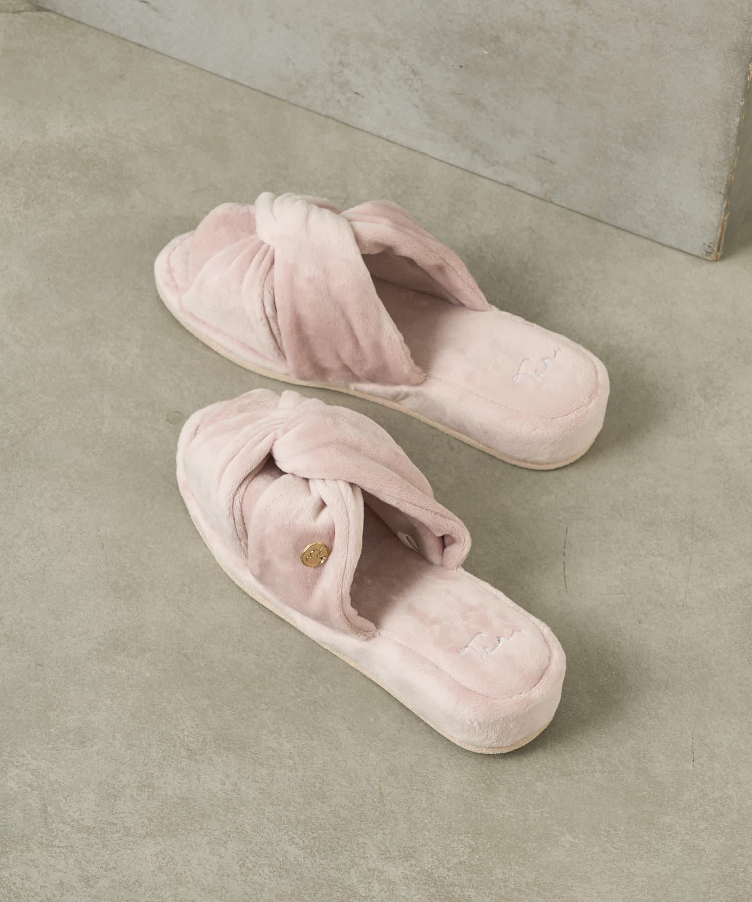 TERRITOIRE(テリトワール) レディース ベロアヒールスリッパ ピンク