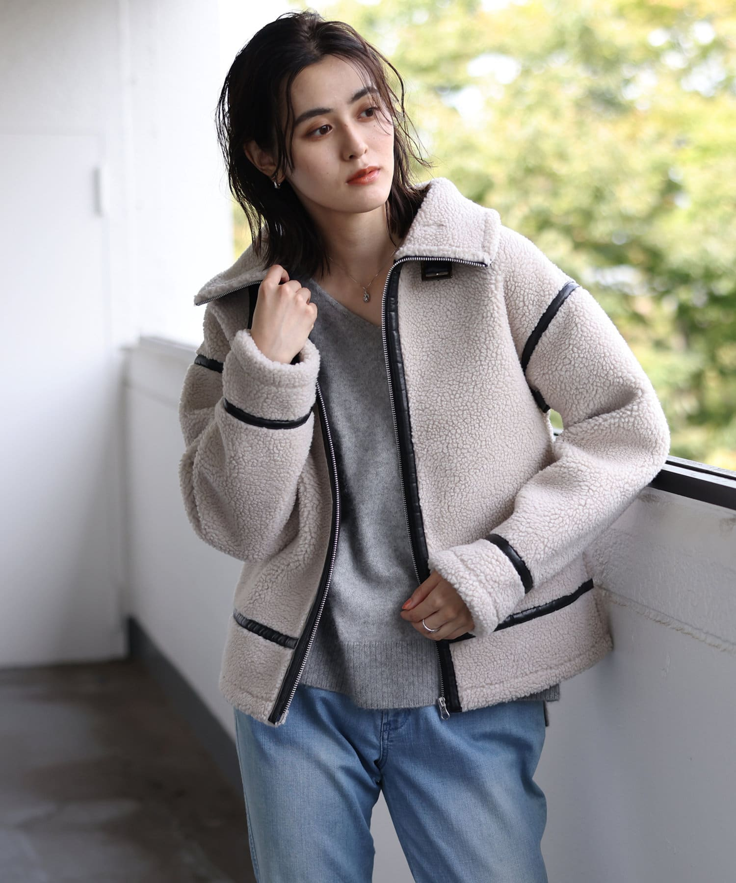 un dix cors(アンディコール) 【暖かみのある風合いが魅力】エコレザーボンディングジャケット