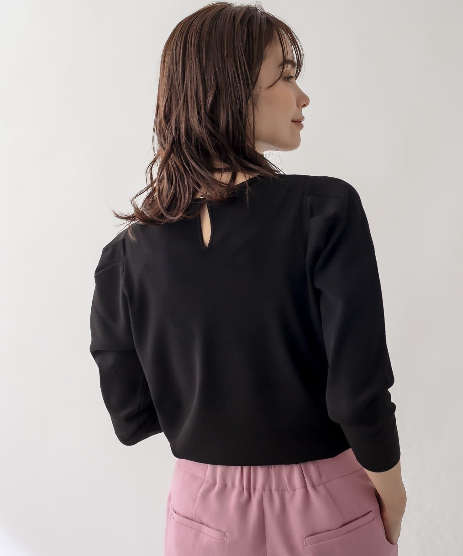 La boutique BonBon(ラブティックボンボン) 【短め袖で秋から活躍・手洗い可】8分袖パワショルニット