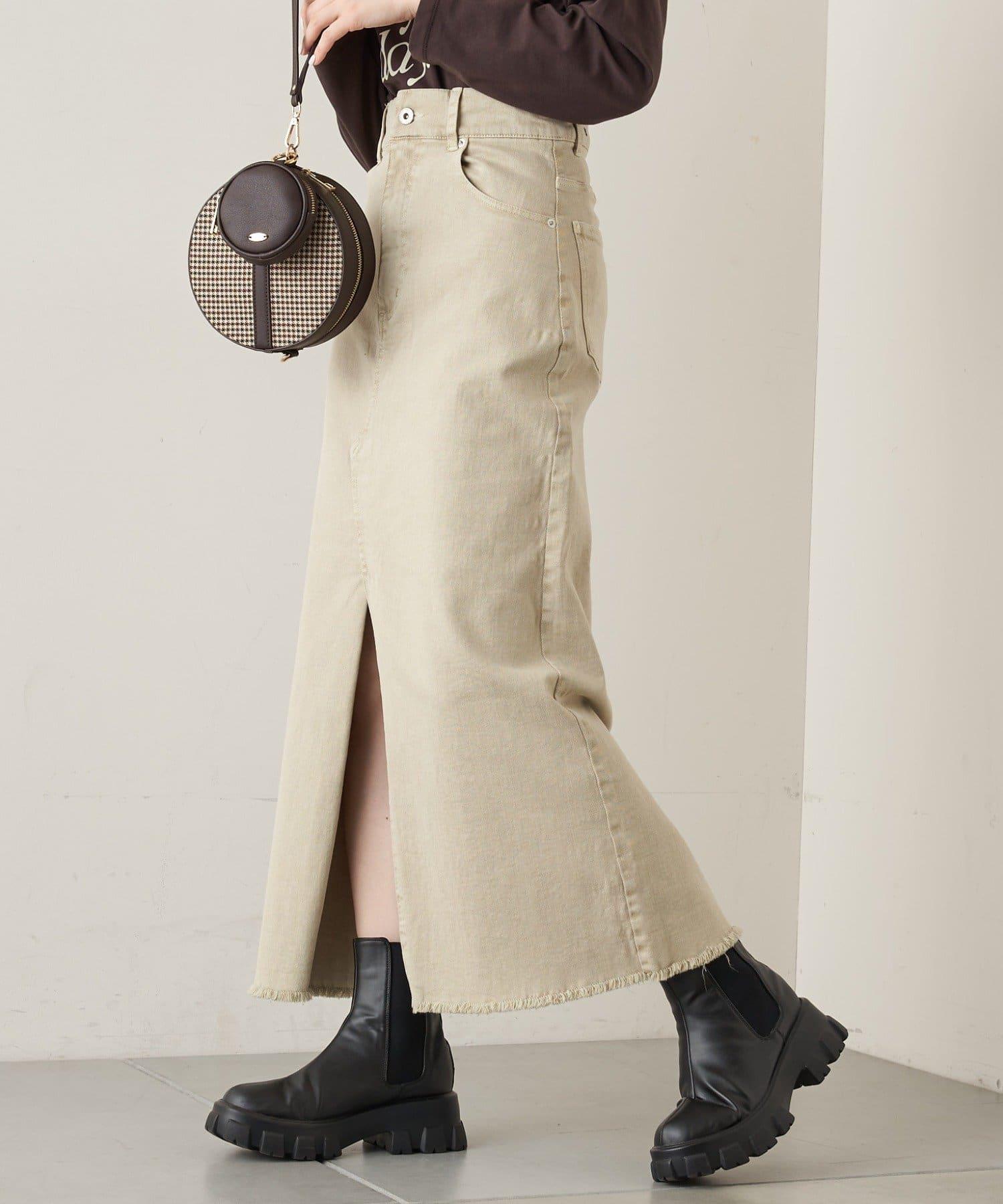who's who Chico(フーズフーチコ) 【WEB限定カラーあり】スリットデニムタイトロングスカート