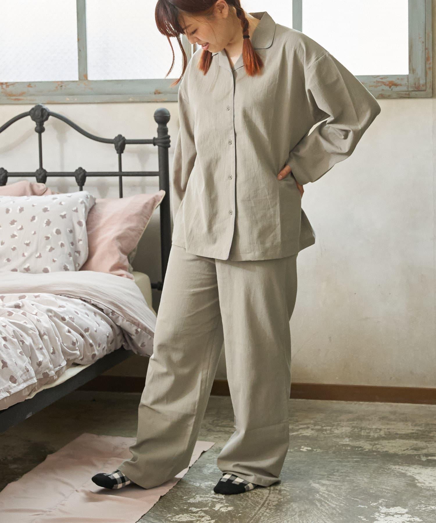 3COINS(スリーコインズ) 【自分好みのベッドルーム】パイピングパジャマ:Lサイズ