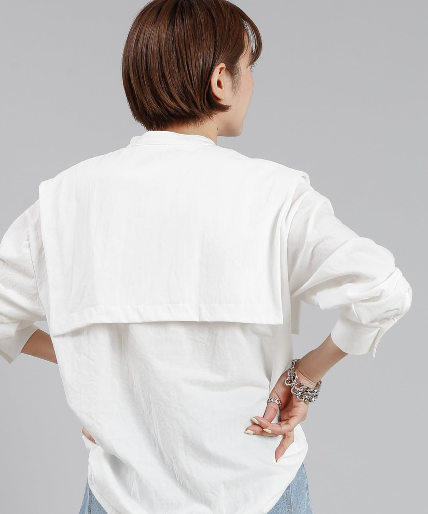 DOUDOU(ドゥドゥ) 【WEB限定】スクエアビッグカラーシャツ
