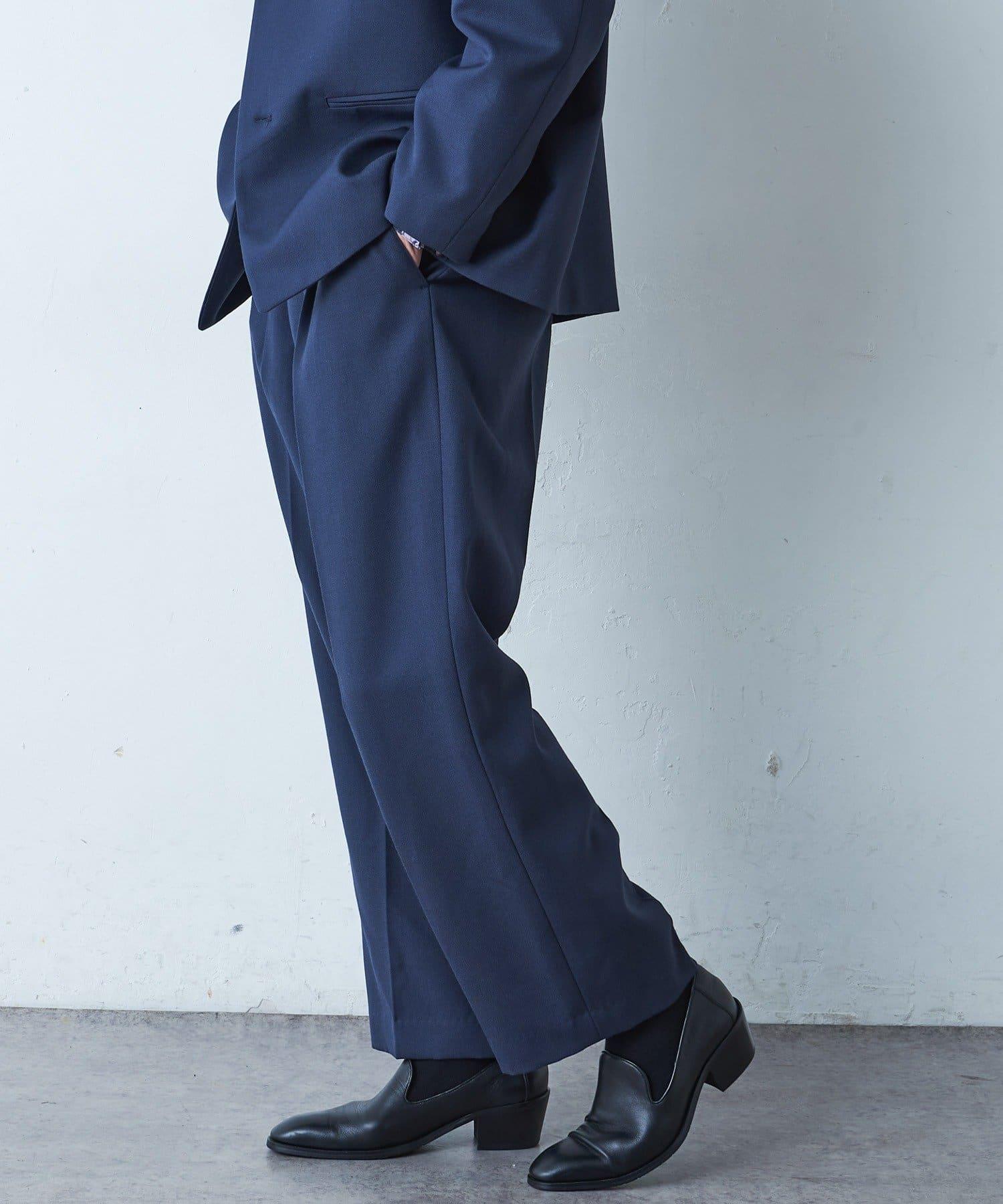 Lui's(ルイス) 【高密度ウールギャバ 2×2セットアップシリーズ】 ワイドパンツ