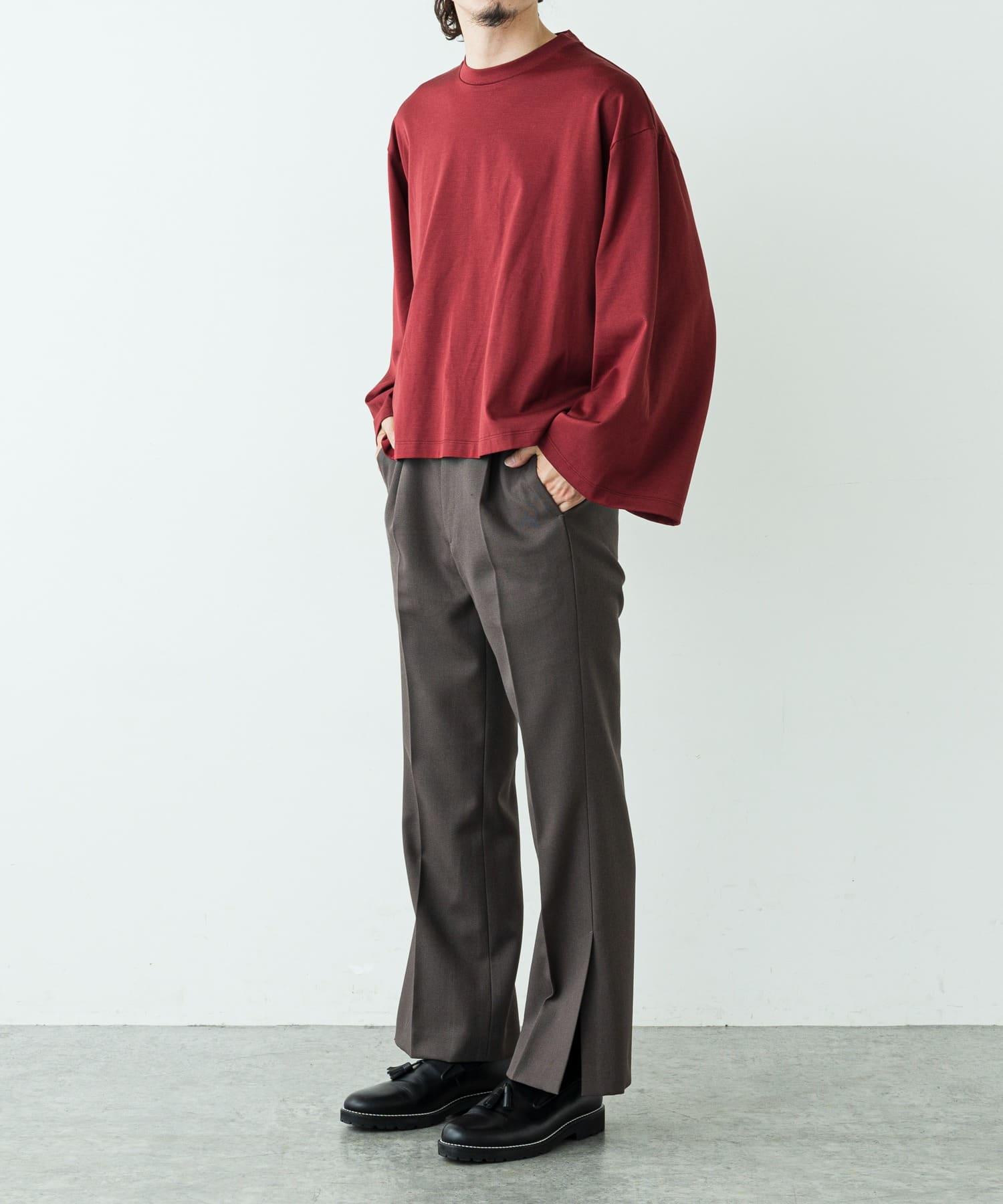 Lui's(ルイス) 高密度ウールギャバ 2×2 スリットフレアパンツ