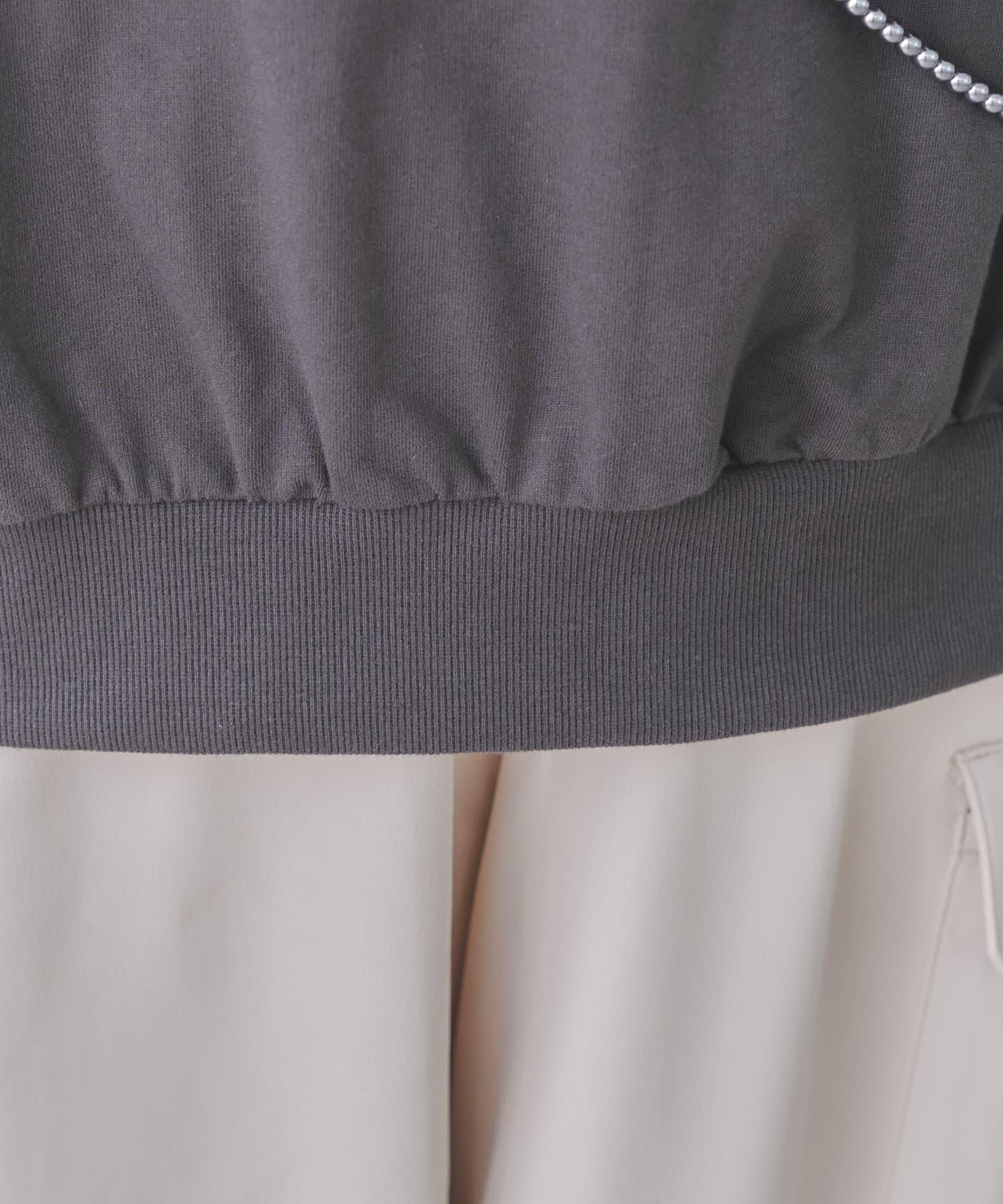 mona Belinda(モナ ベリンダ) 袖異素材切替フリルフォトプルオーバー