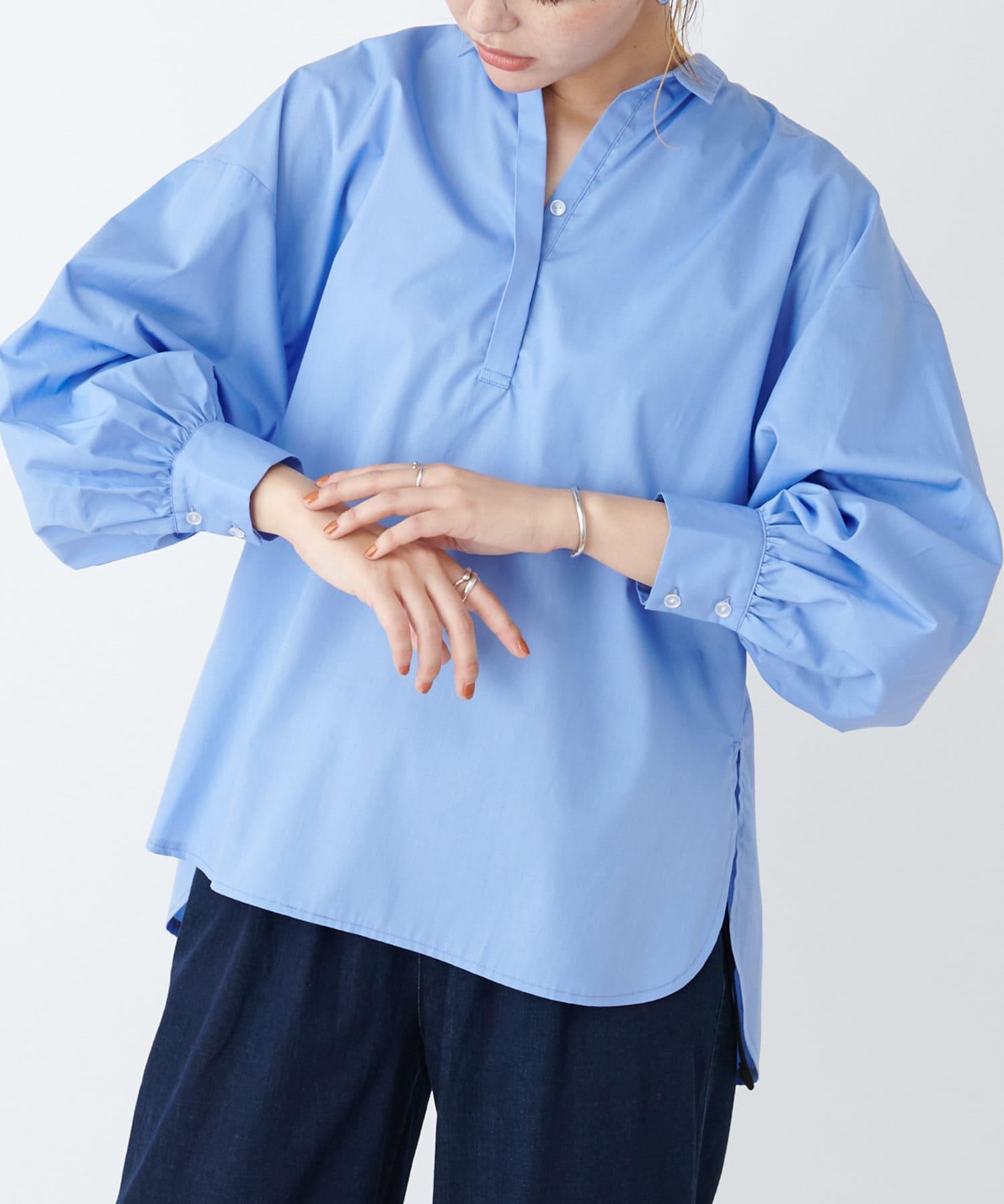 COLLAGE GALLARDAGALANTE(コラージュ ガリャルダガランテ) レディース ボリューム袖スキッパーシャツ ブルー
