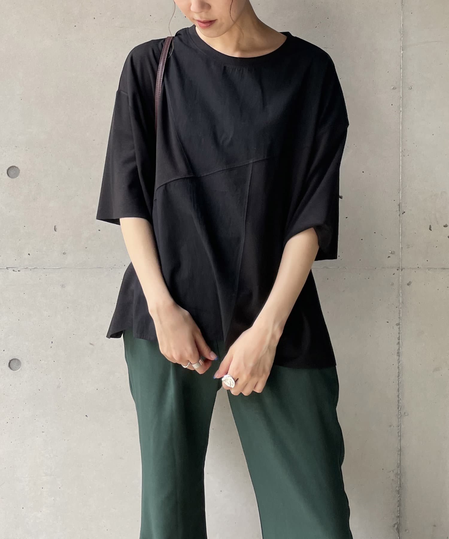 CAPRICIEUX LE'MAGE(カプリシュレマージュ) 〈WEB限定〉異素材パッチワークTシャツ