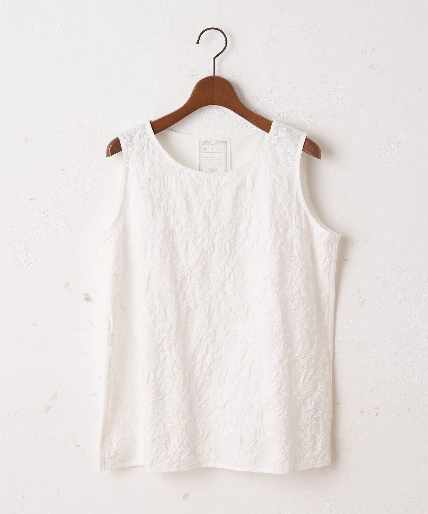 BEARDSLEY(ビアズリー) ライフスタイル 《BA×embroidery》刺繍タンク ホワイト