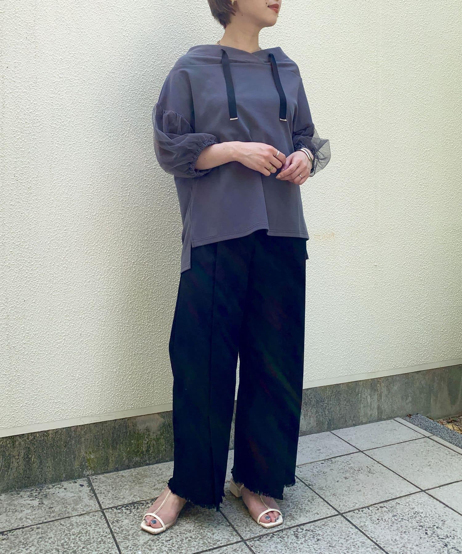 Thevon(ゼヴォン) 【WEB限定】フード見えチュール7分袖プルオーバー