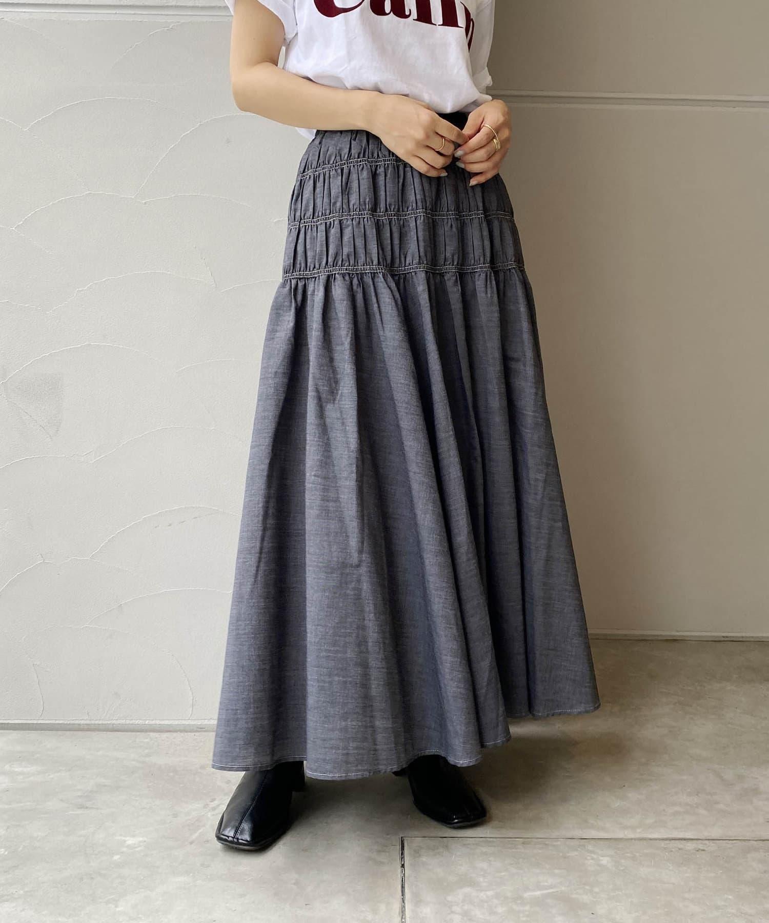 CAPRICIEUX LE'MAGE(カプリシュレマージュ) シャーリングロングスカート