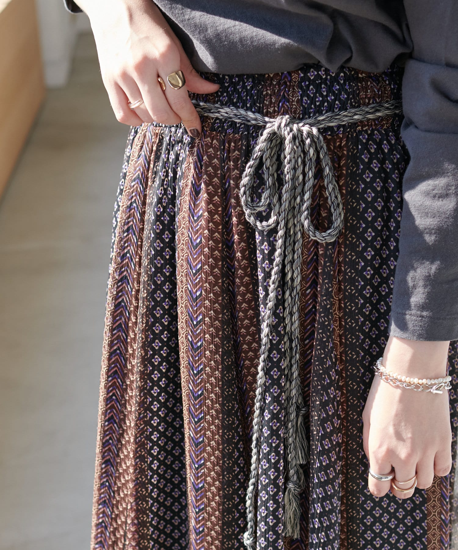 Discoat(ディスコート) エスニックストライプロングスカート