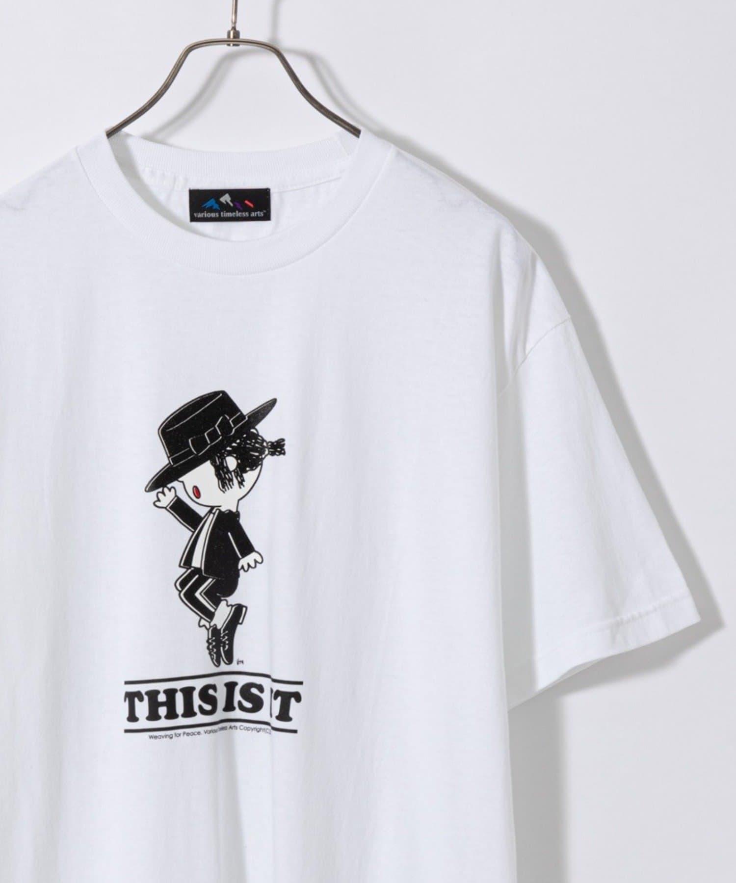 CIAOPANIC(チャオパニック) メンズ 【VARIOUS TIMELESS ARTS】トップスターM.JプリントTシャツ ホワイト