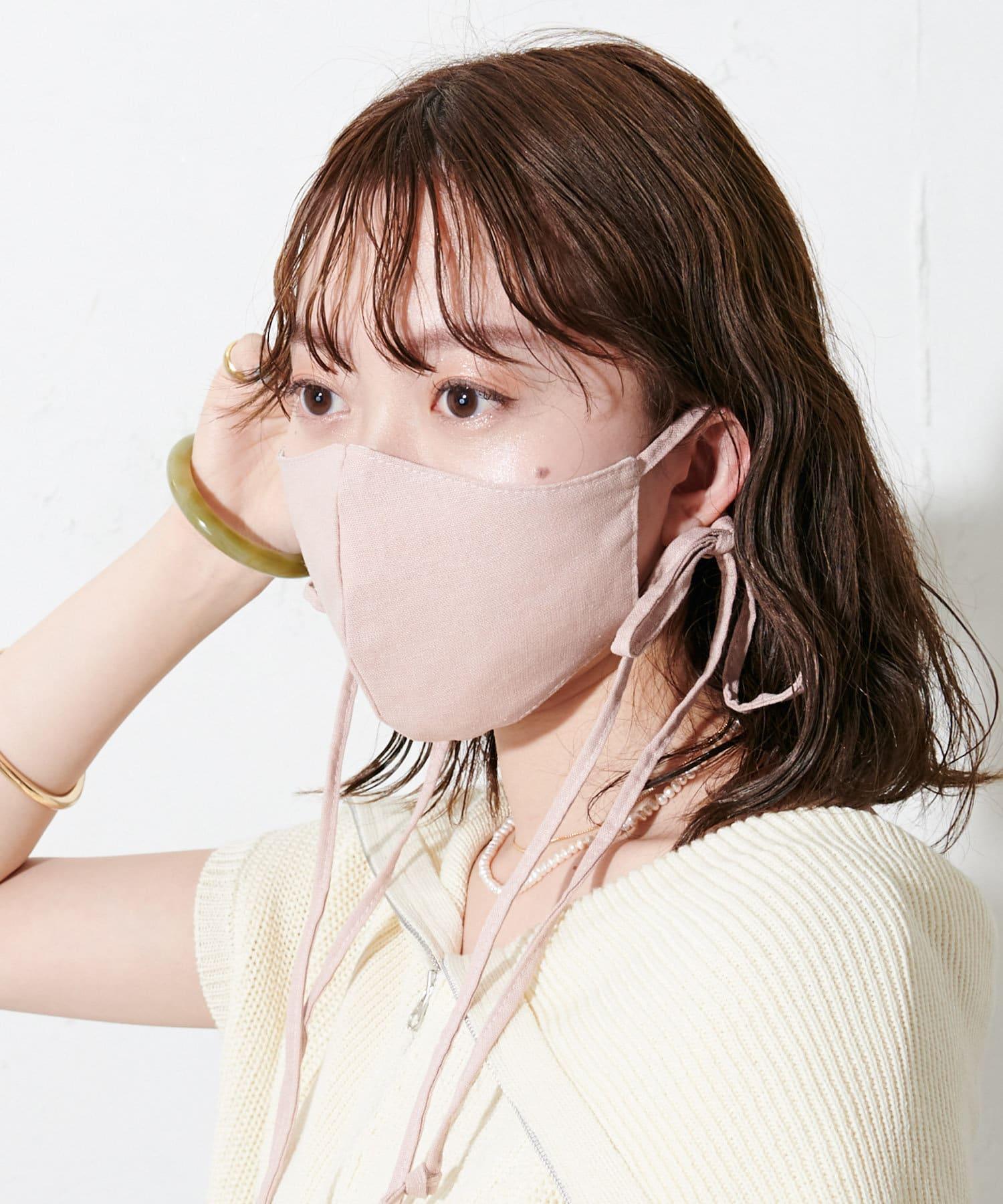 OUTLET(アウトレット) レディース 【Discoat】【抗菌消臭】リボンストラップマスク ピンク