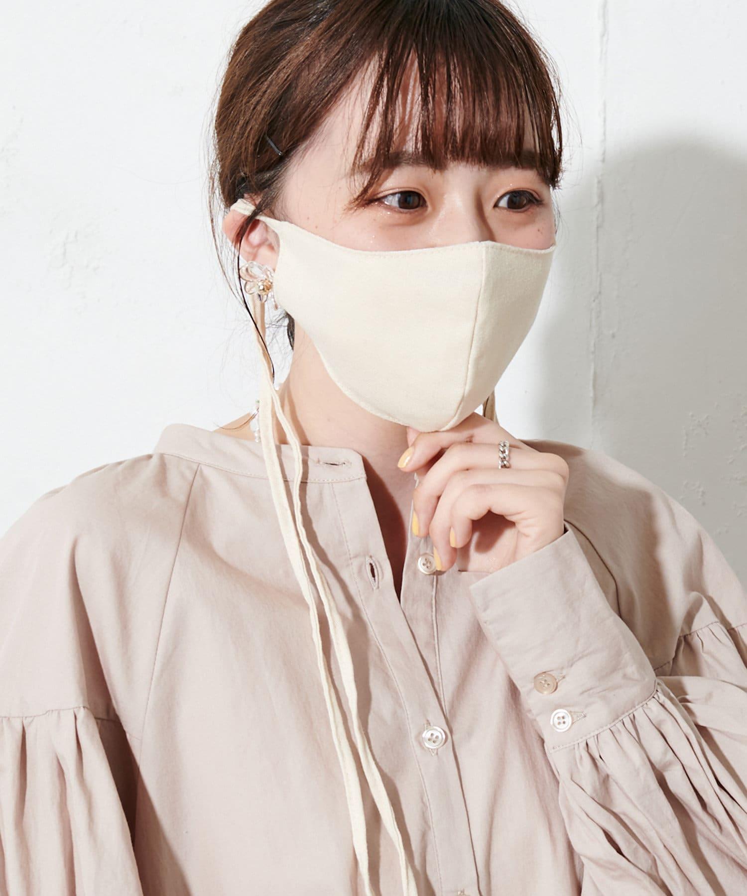 OUTLET(アウトレット) レディース 【Discoat】【抗菌消臭】リボンストラップマスク アイボリー