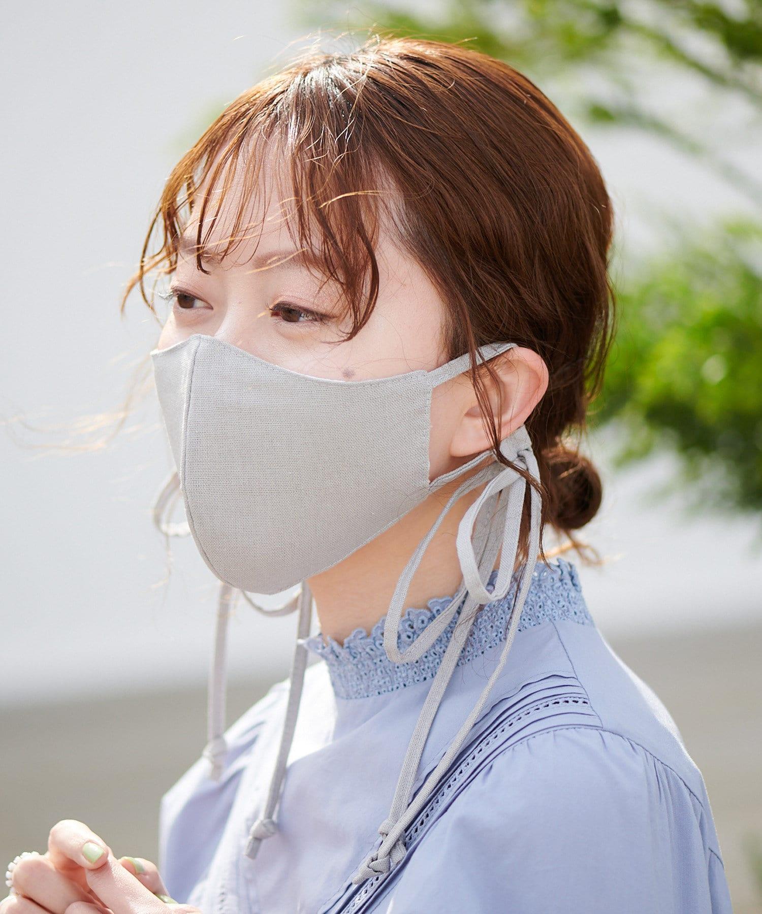OUTLET(アウトレット) レディース 【Discoat】【抗菌消臭】リボンストラップマスク グレー