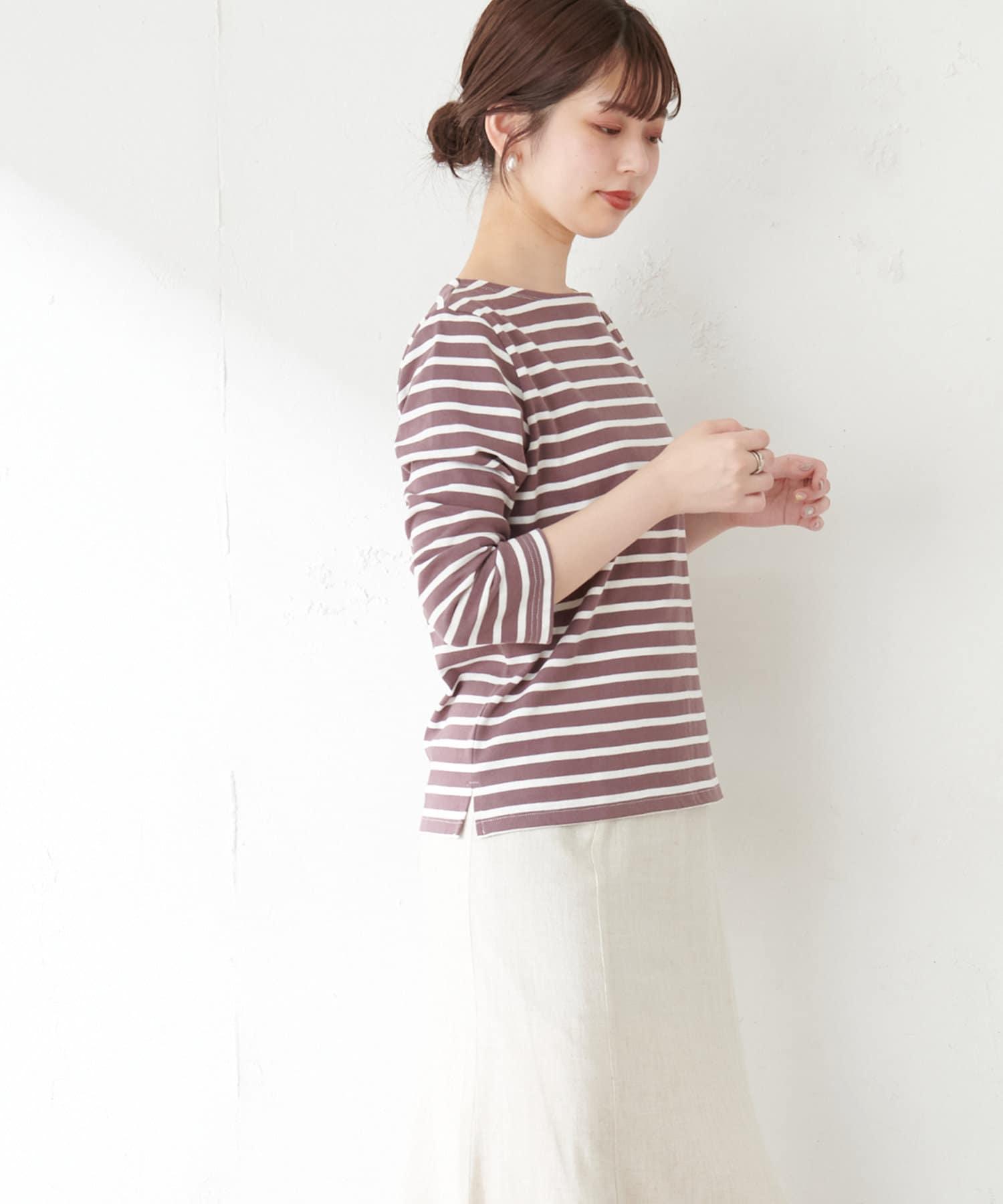natural couture(ナチュラルクチュール) 【WEB限定カラー有り】便利なベーシックボーダーT