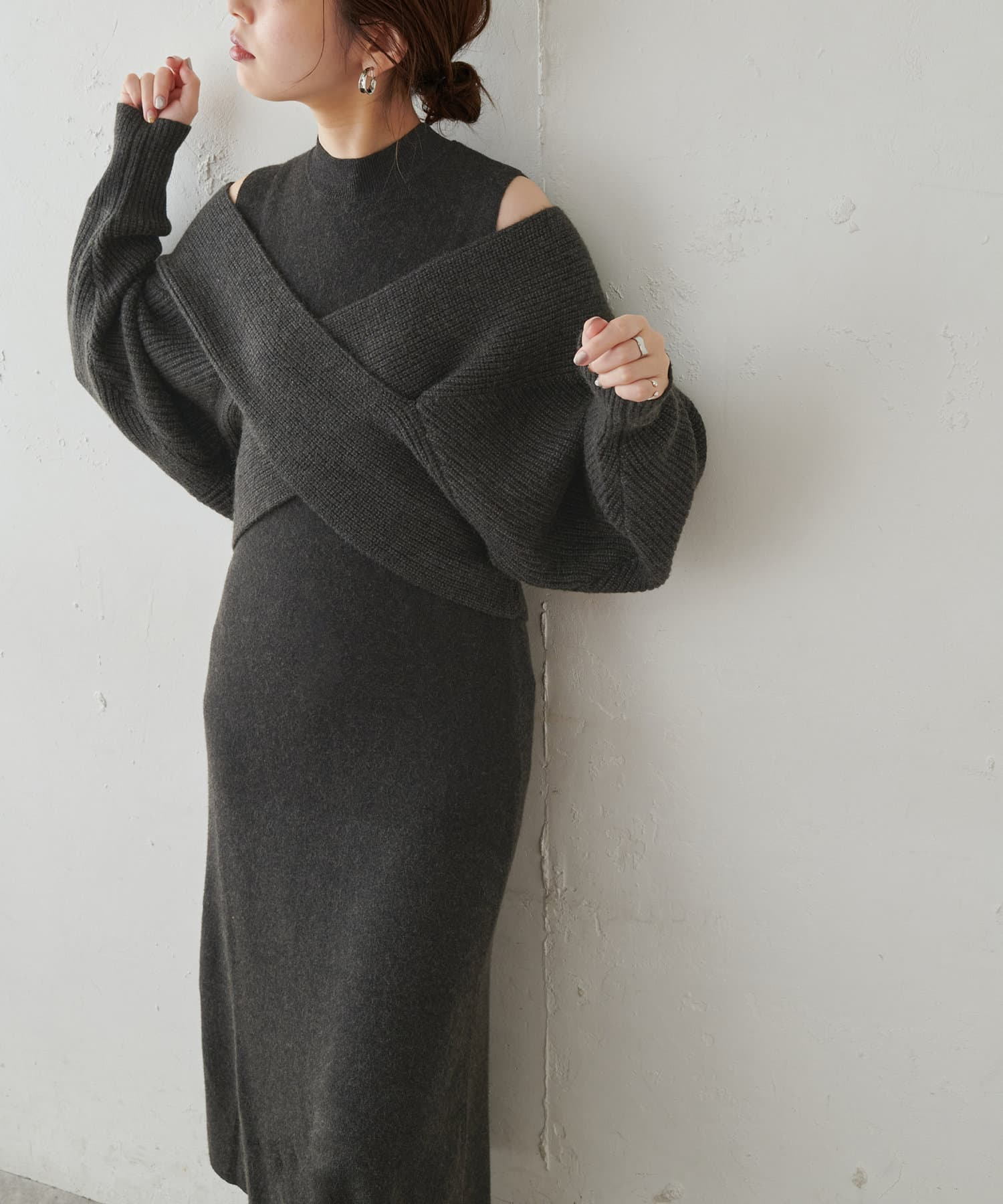 natural couture(ナチュラルクチュール) 【WEB限定・大好評リバイバルアイテム】クロスニット+ノースリワンピースセット