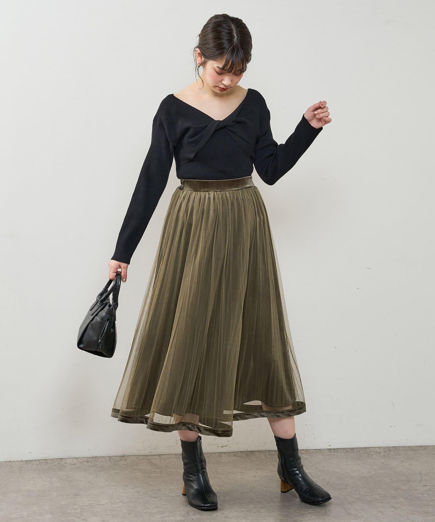 natural couture(ナチュラルクチュール) 【大好評リバイバルアイテム】裾べロアパイピングチュールプリーツスカート