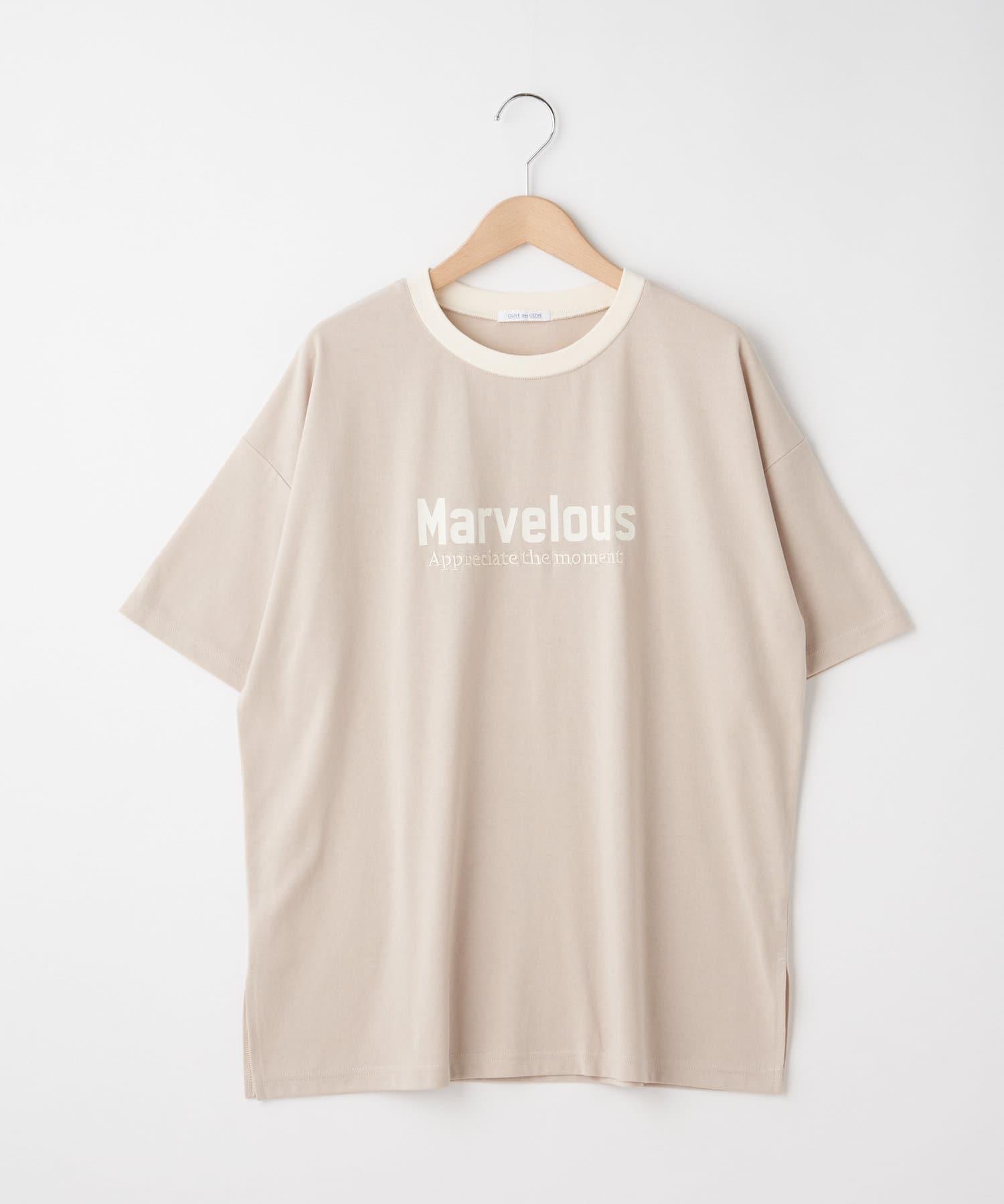 OLIVE des OLIVE OUTLET(オリーブ・デ・オリーブ アウトレット) ロゴ刺繍リンガーTシャツ