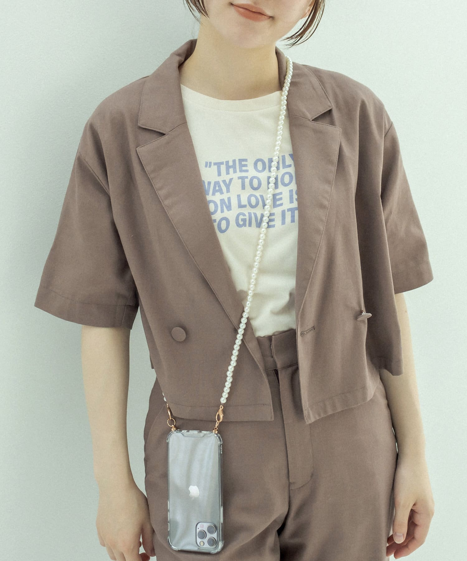 OLIVE des OLIVE(オリーブ デ オリーブ) 品良く決まる開襟ダブル釦シャツ