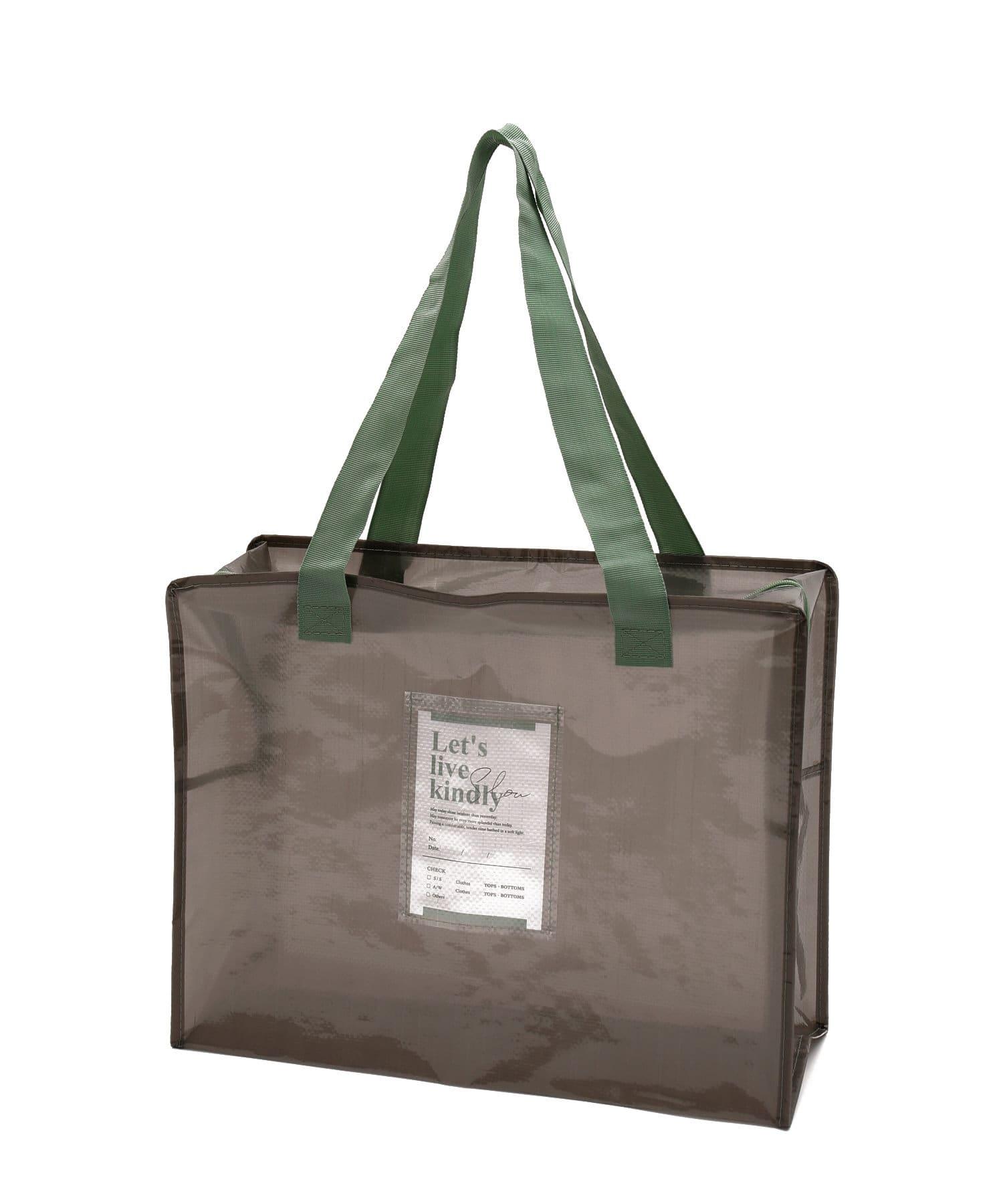 3COINS(スリーコインズ) ライフスタイル 【衣替えやお部屋の整理に】クリアボックスバッグ:Lサイズ グレー