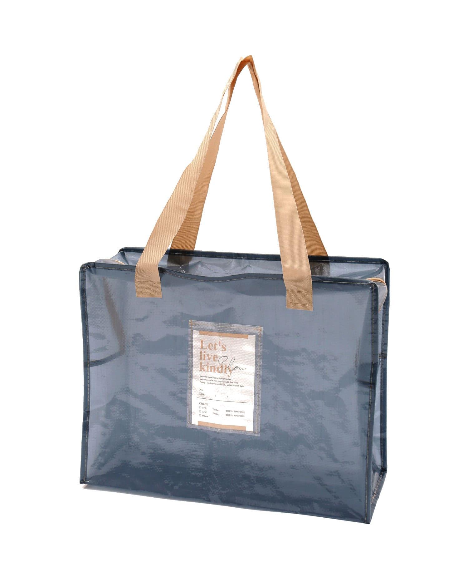 3COINS(スリーコインズ) 【衣替えやお部屋の整理に】クリアボックスバッグ:Lサイズ