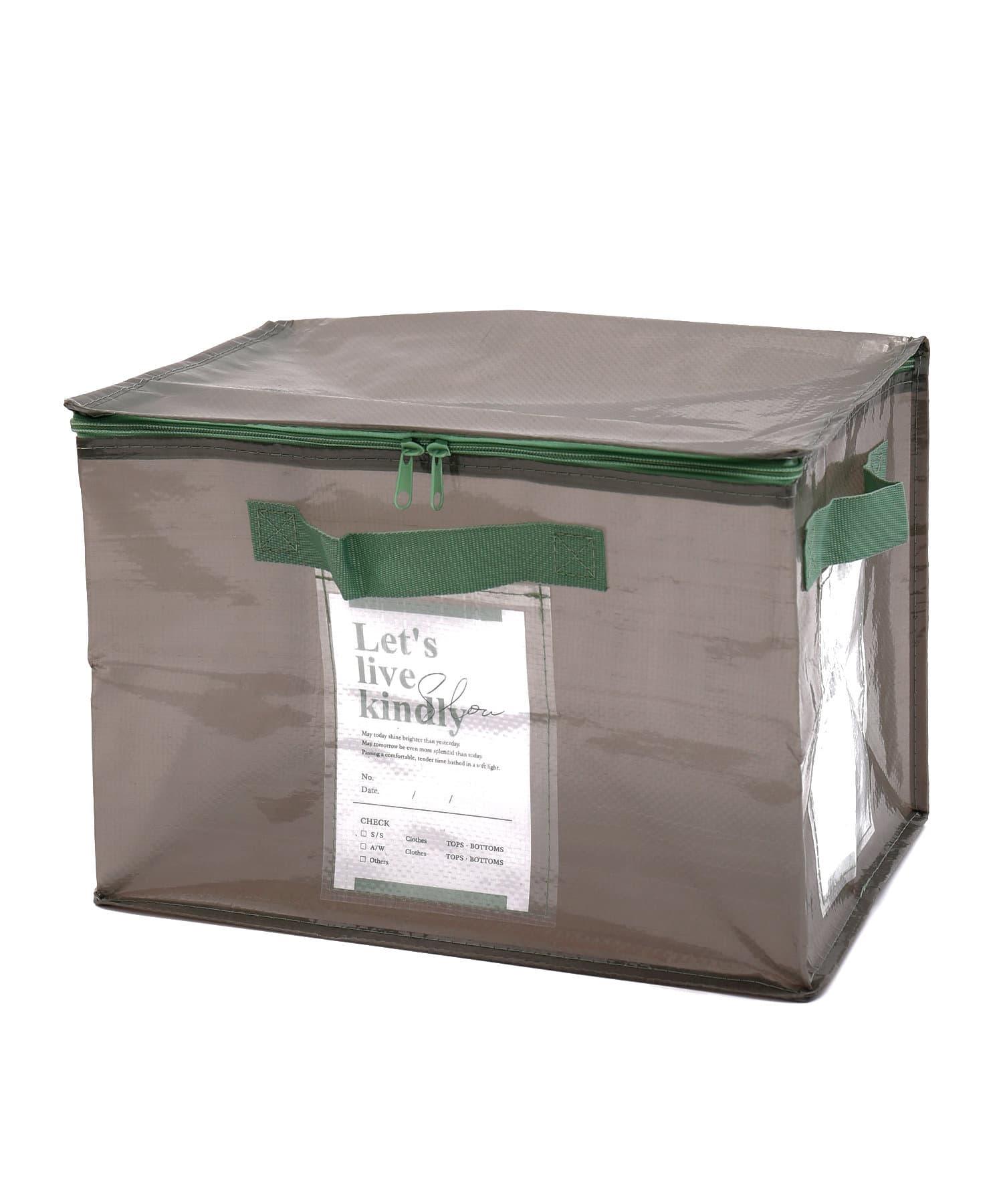 3COINS(スリーコインズ) ライフスタイル 【衣替えやお部屋の整理に】フタ付きクリアワイドボックス グレー