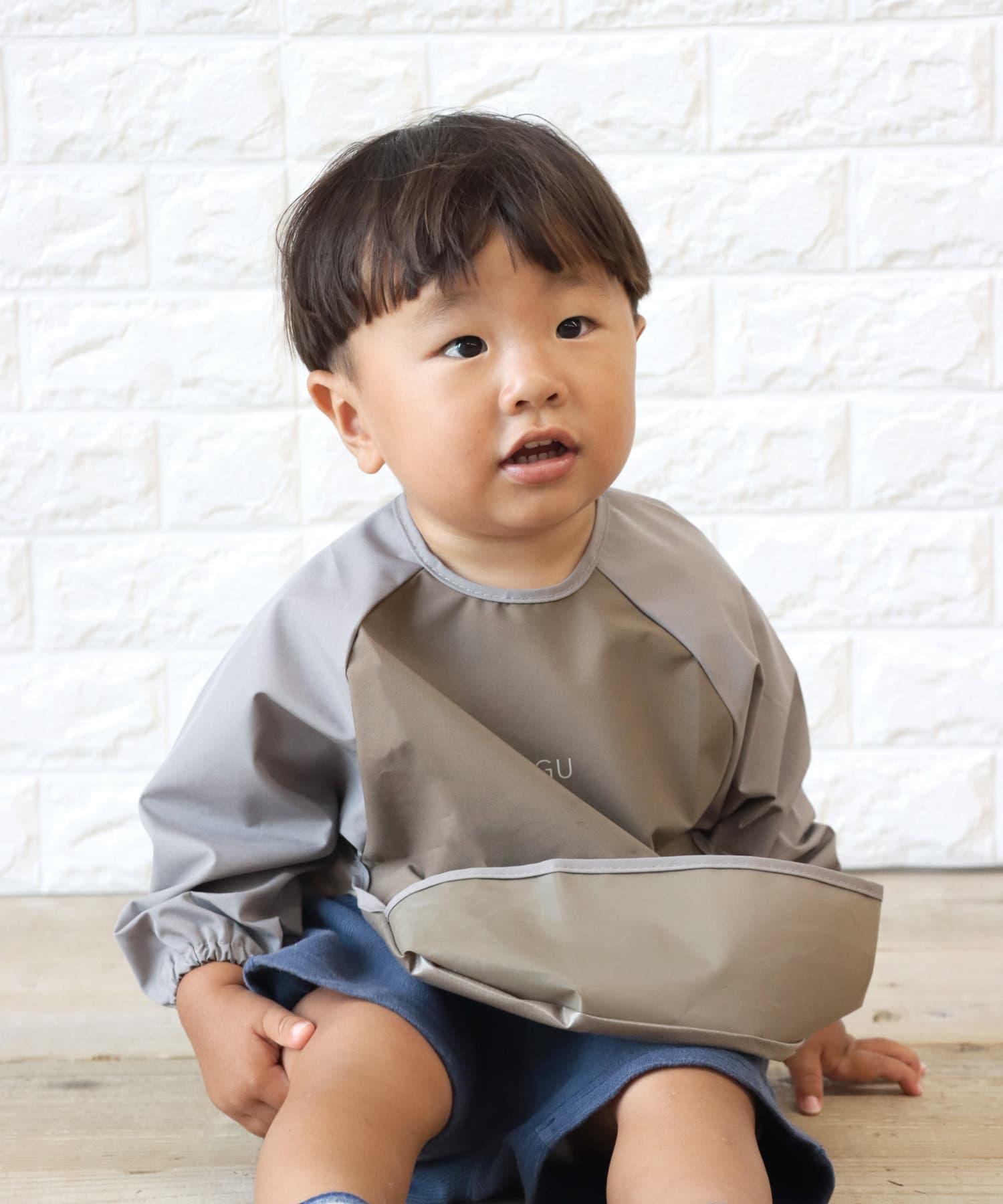 3COINS(スリーコインズ) 【お手入れ簡単・食べこぼし防止】長袖お食事エプロン