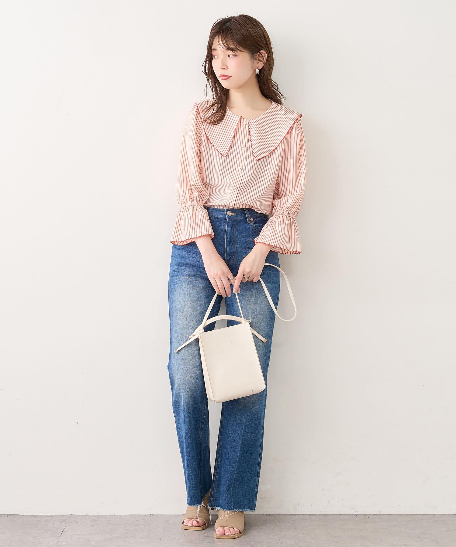 natural couture(ナチュラルクチュール) 【WEB限定】配色ピコ刺繍セーラーカラーブラウス