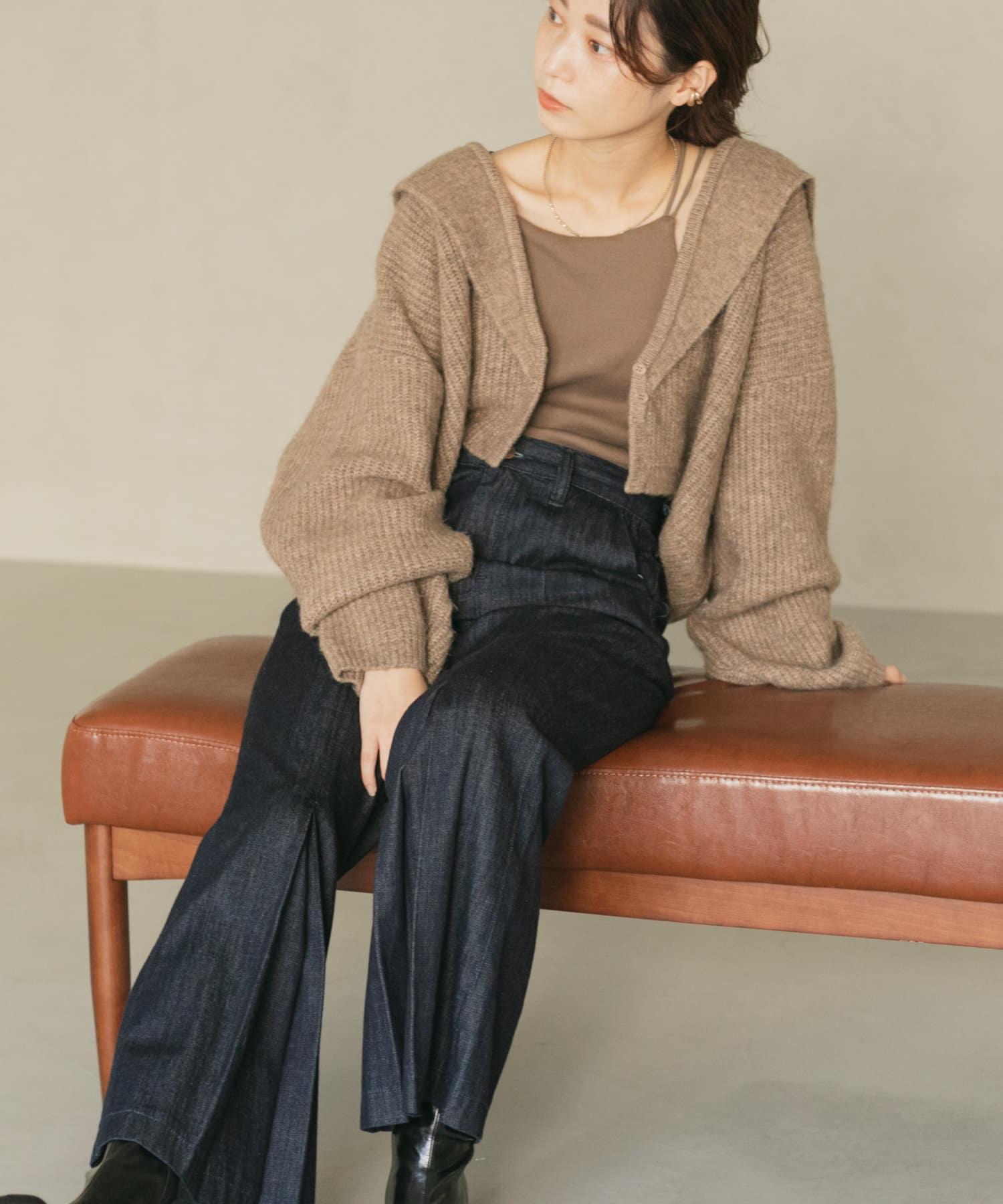 Kastane(カスタネ) 【カタログ掲載アイテム】襟付きクロップドカーディガン